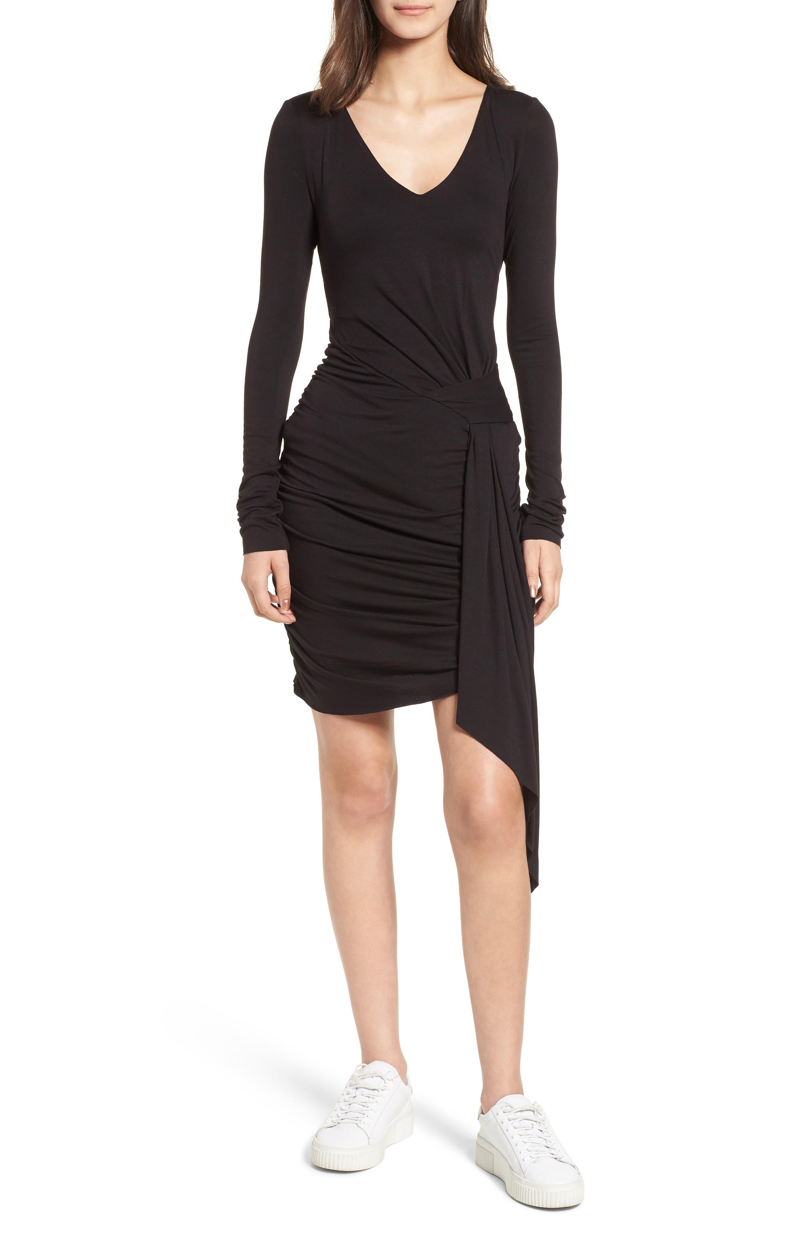 V-Neck Dress,                         Main,                         color, Black Multi