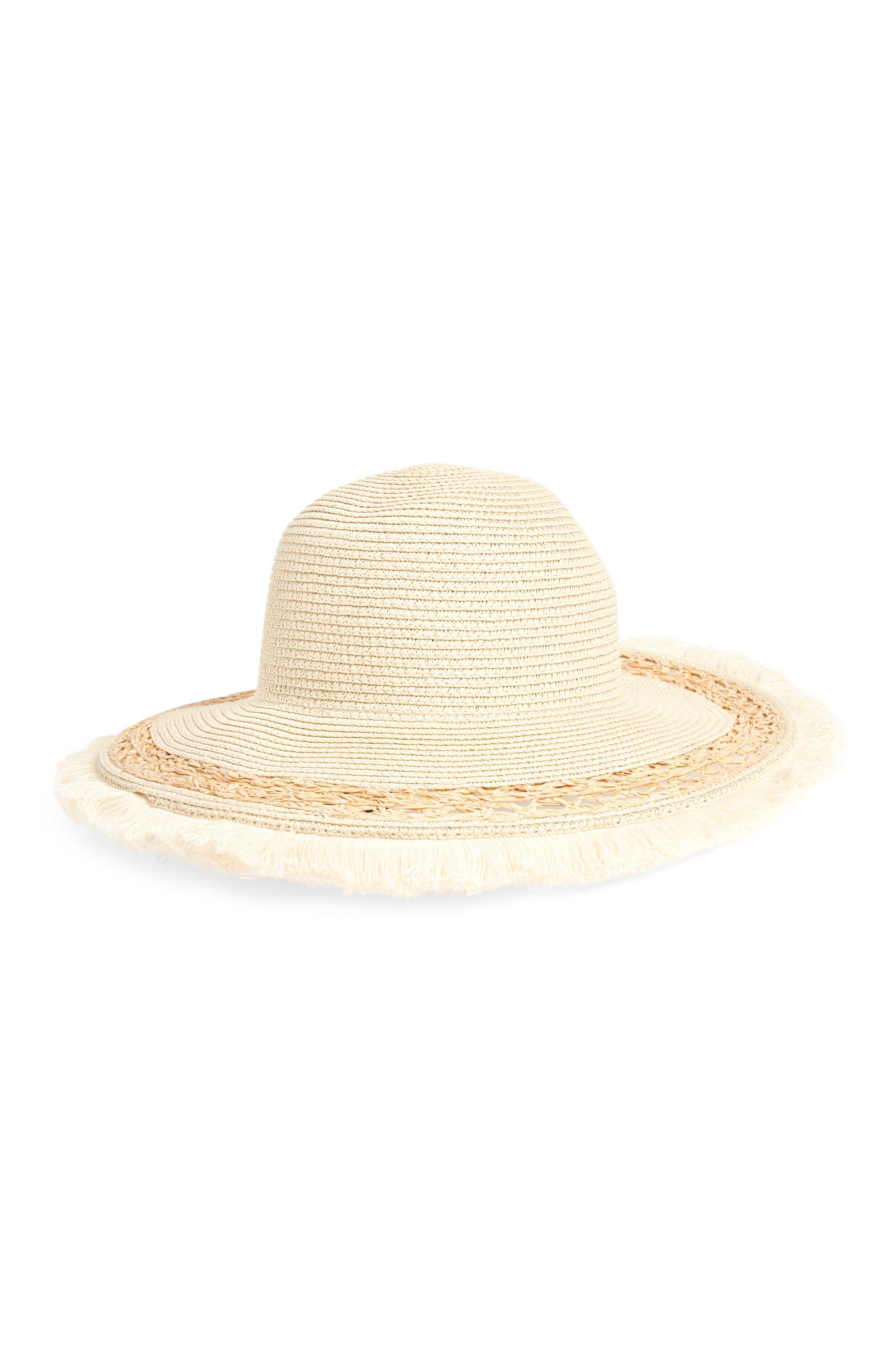 Fringe Edge Straw Hat,                             Main thumbnail 1, color,                             Natural/ Black