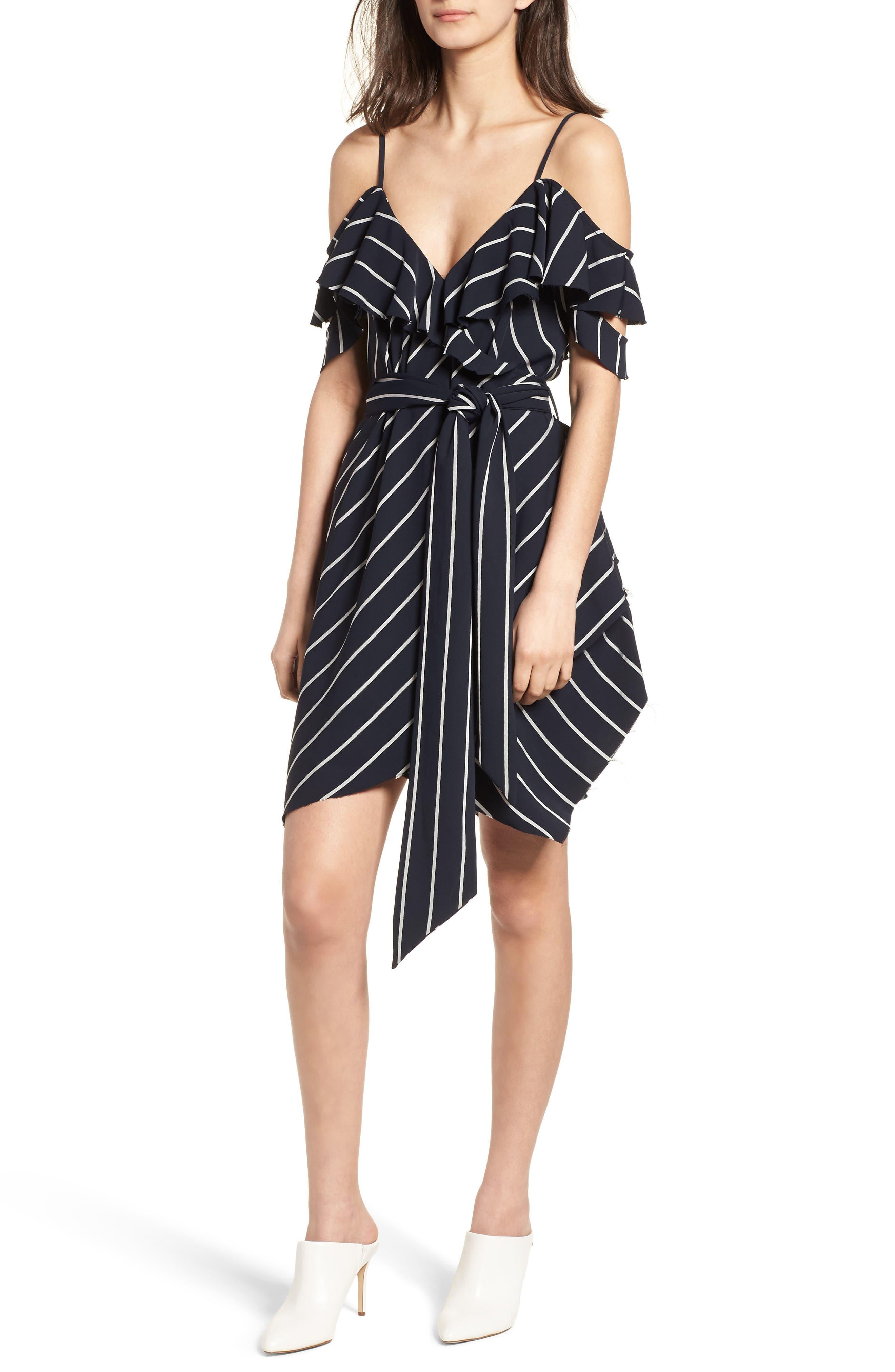 Pinstripe Ruffle Wrap Dress,                         Main,                         color, Navy/ White
