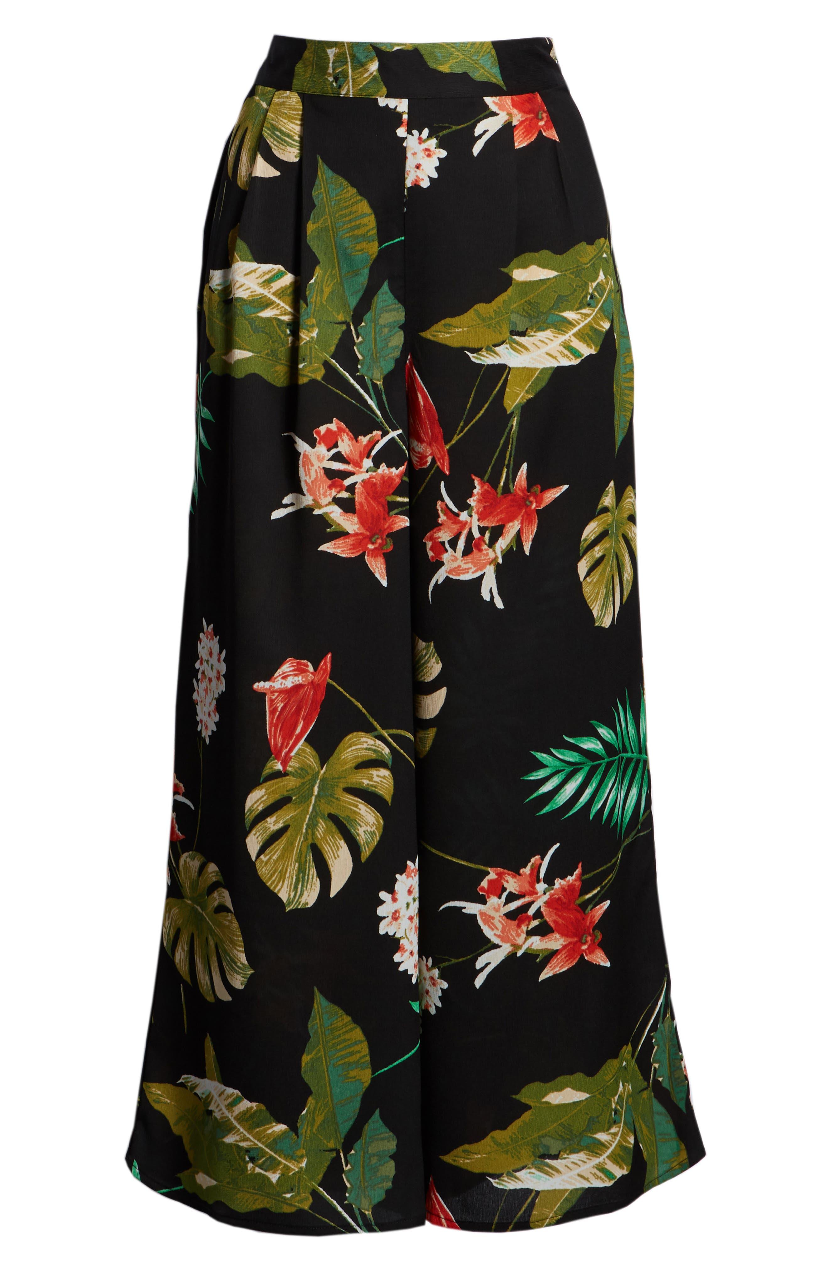 Tropical Print Culottes,                             Alternate thumbnail 8, color,                             Black Multi