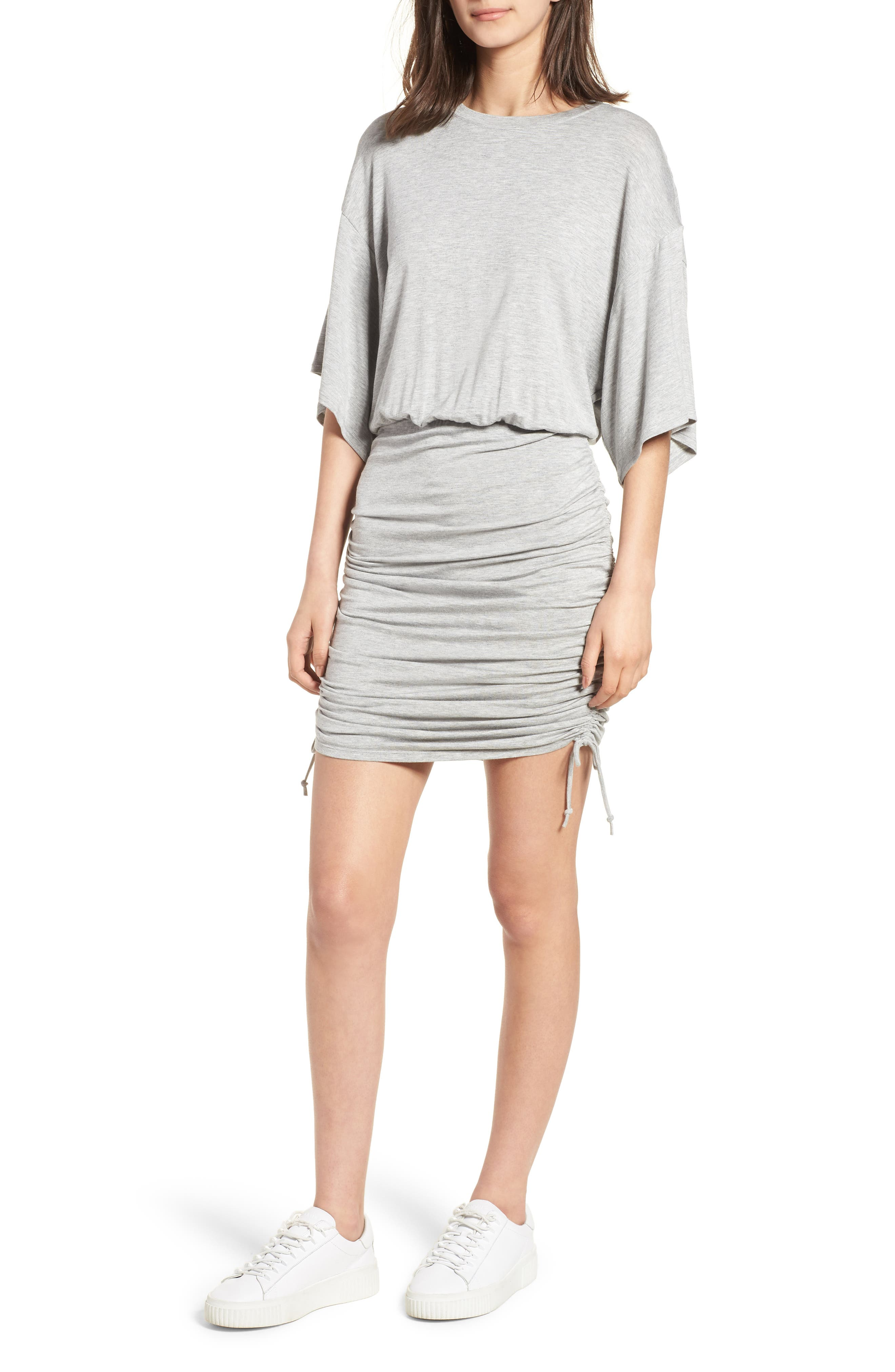 Short Sleeve Ruched Dress,                         Main,                         color, Heather Grey