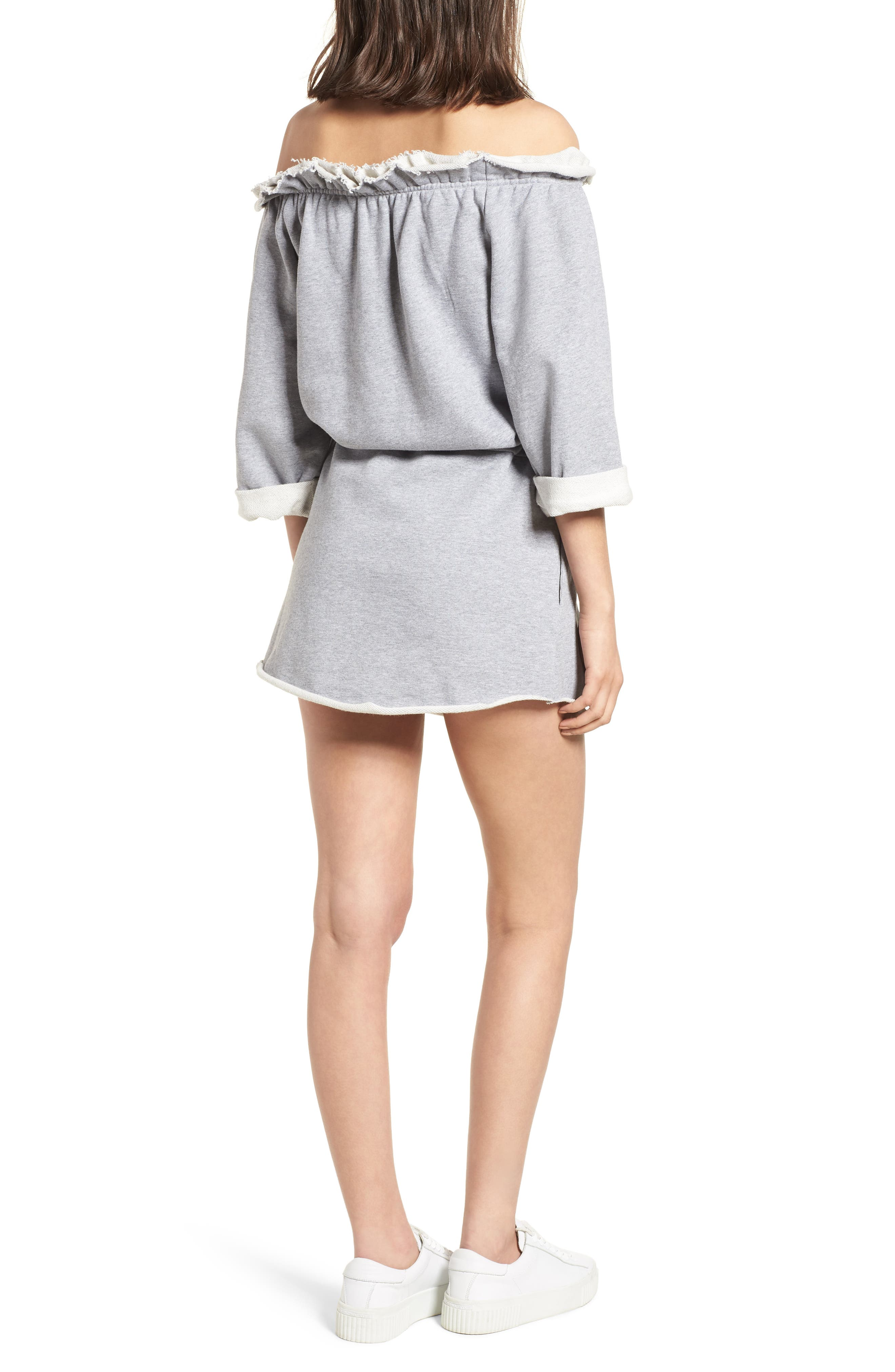 Off the Shoulder Dress,                             Alternate thumbnail 2, color,                             Heather Grey