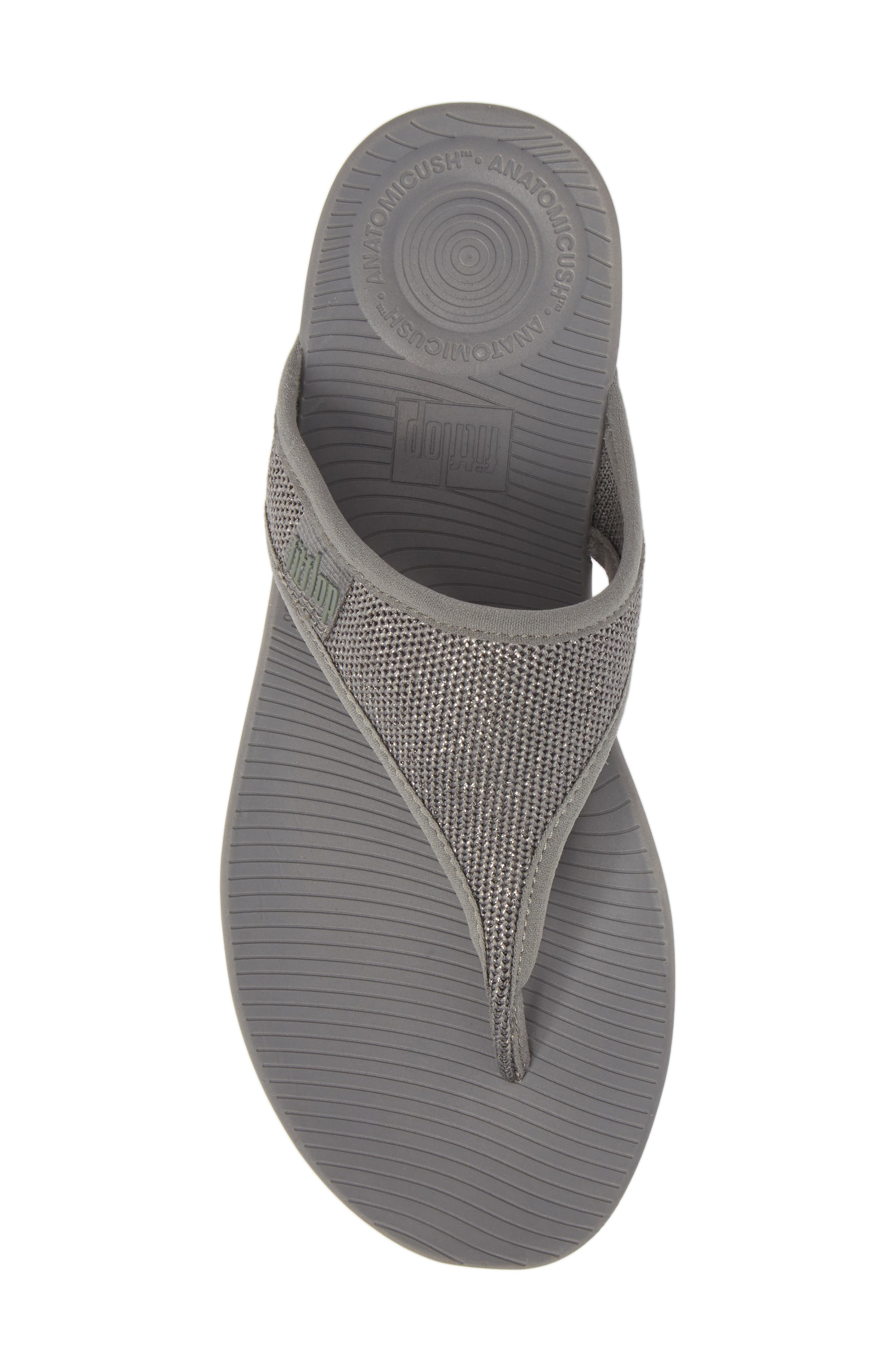 Überknit Flip Flop,                             Alternate thumbnail 5, color,                             Charcoal Grey/ Pewter Leather