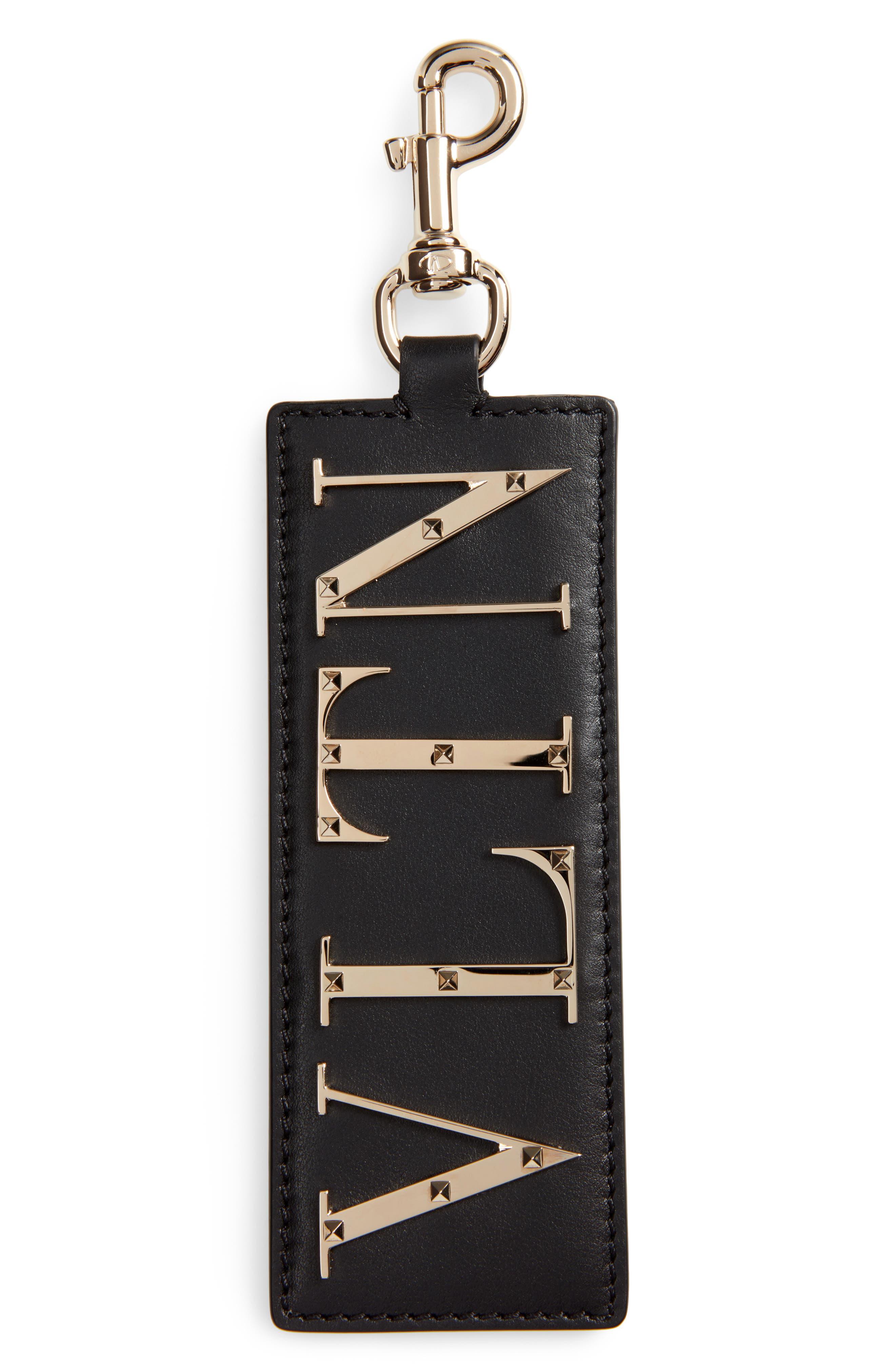 Logo Leather Bag Charm/Key Holder,                         Main,                         color, Black