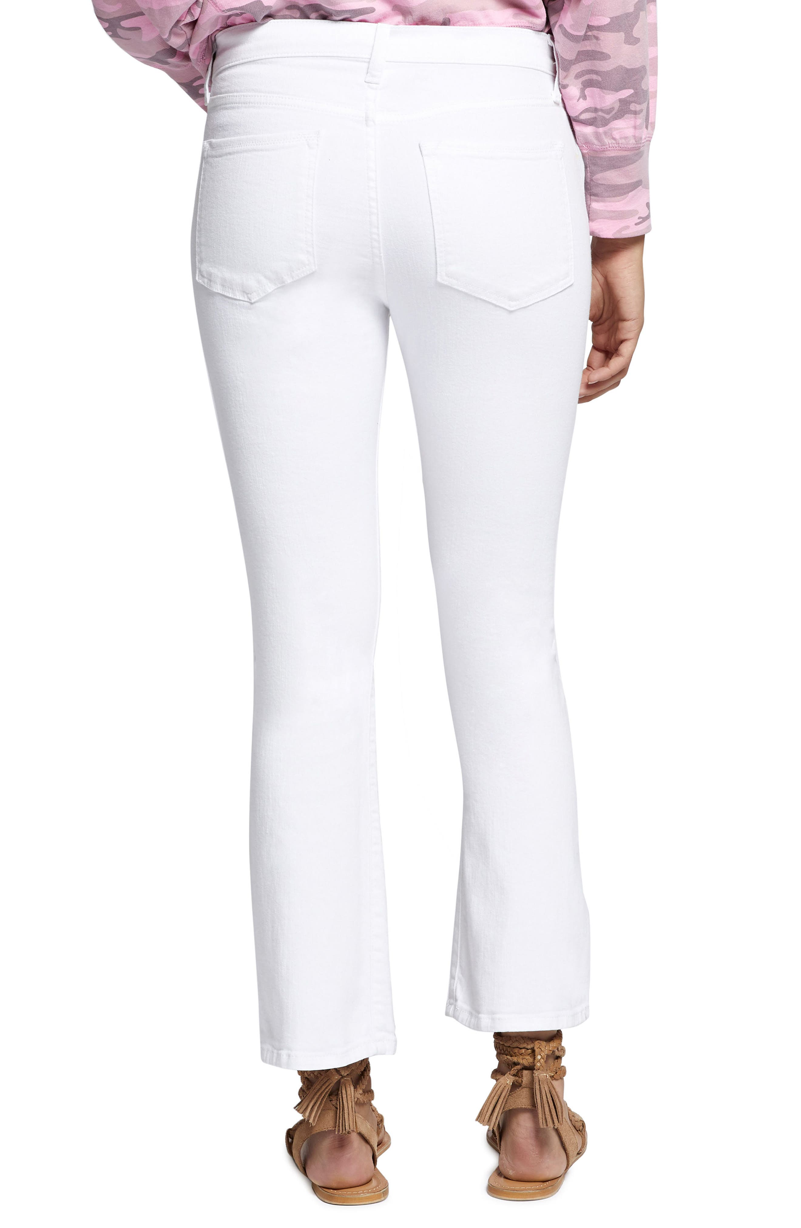 Robbie Crop Flare Jeans,                             Alternate thumbnail 2, color,                             White