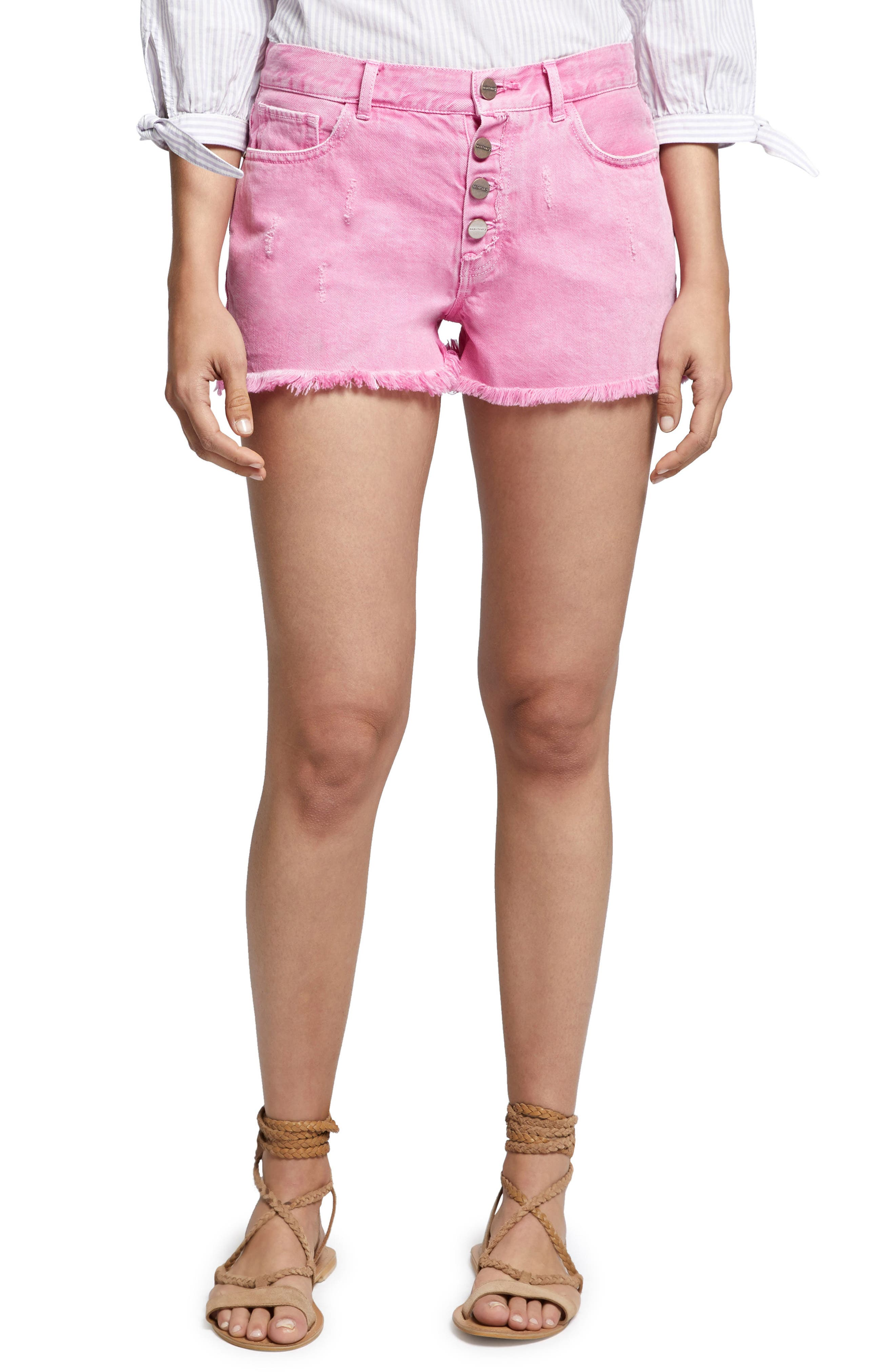 Wild Cherry Fringed Jean Shorts,                             Main thumbnail 1, color,                             Washed Wild Cherry