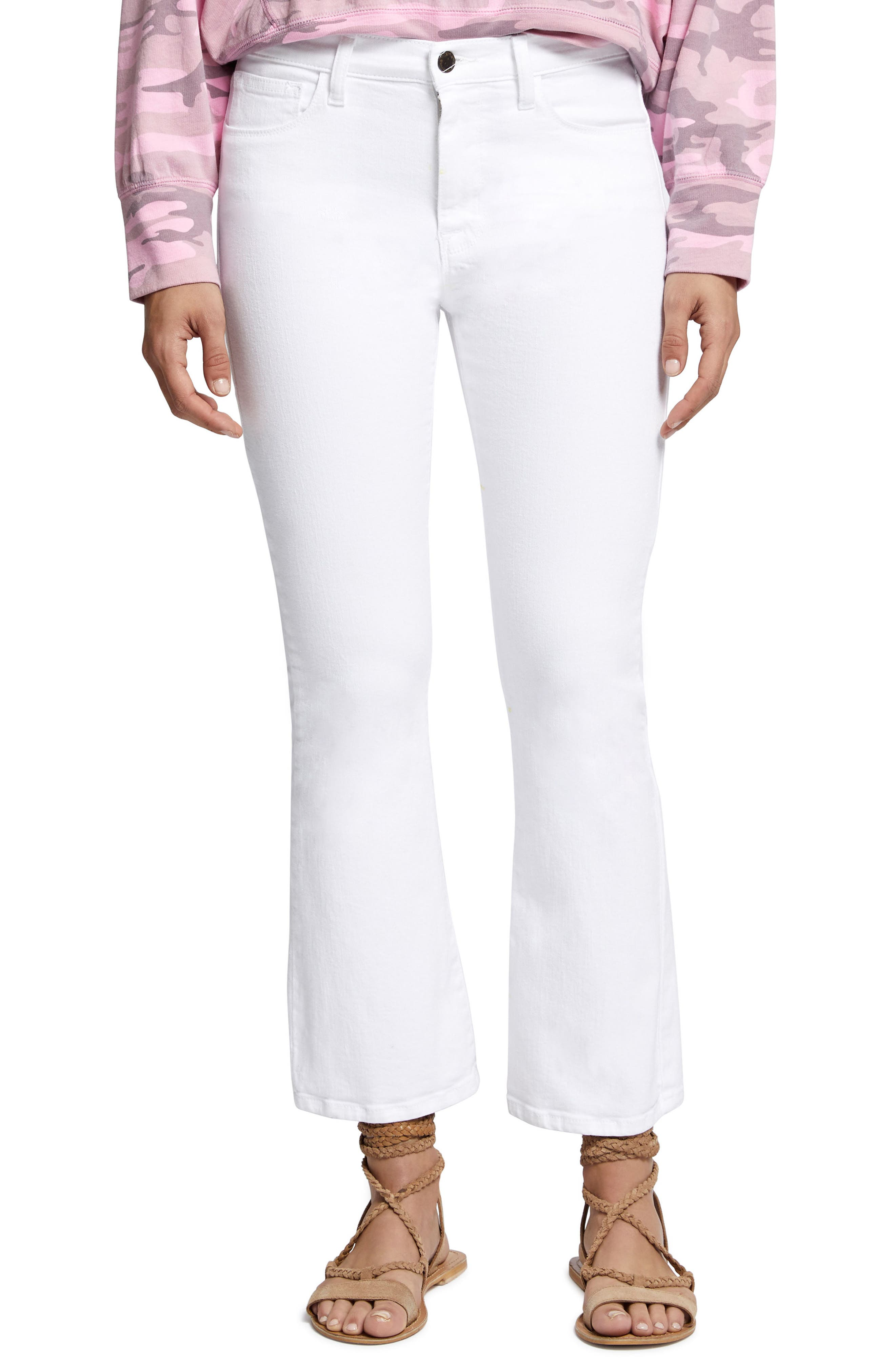 Robbie Crop Flare Jeans,                         Main,                         color, White