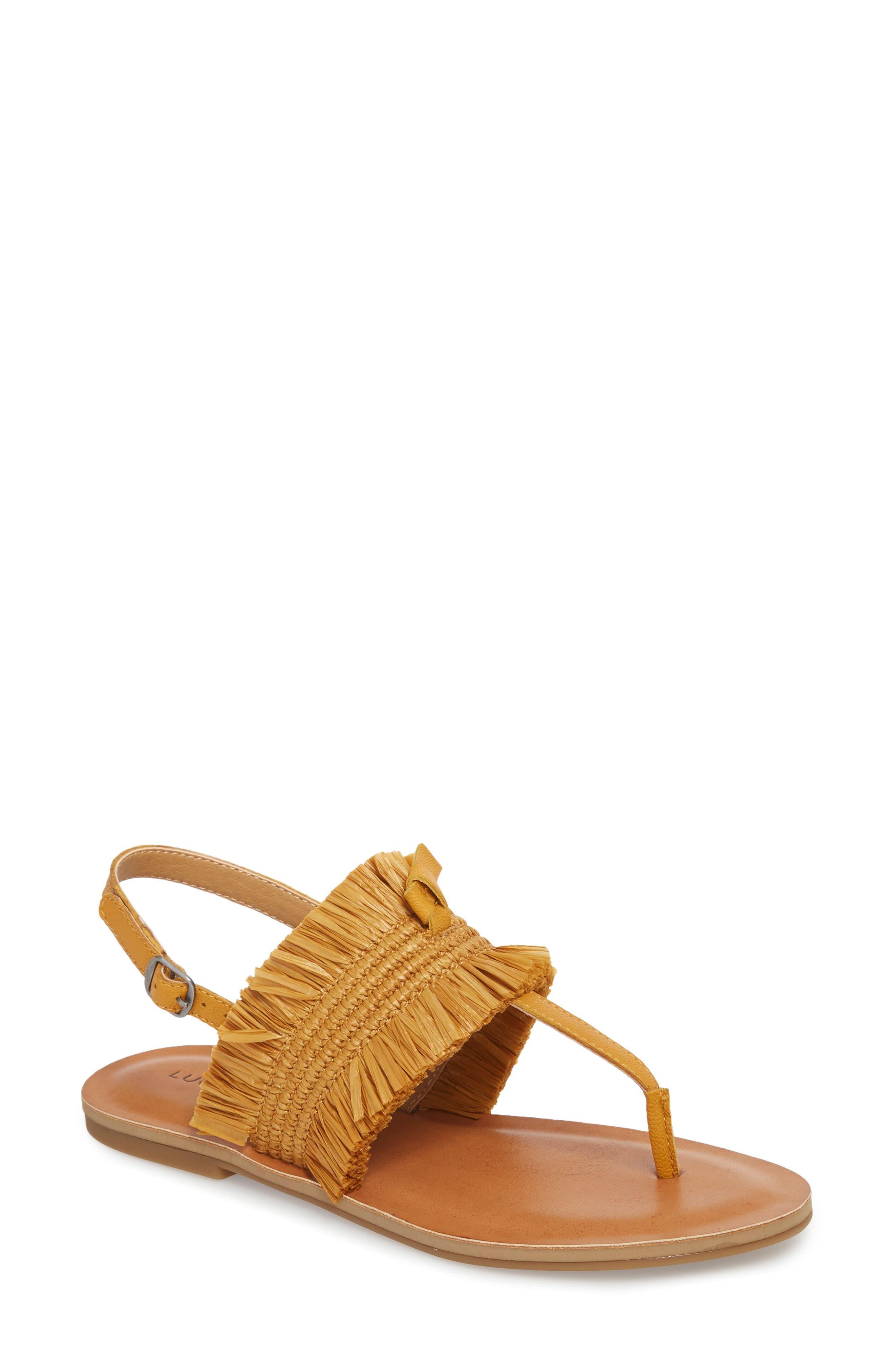 Akerlei Sandal,                             Main thumbnail 1, color,                             Saffron Leather