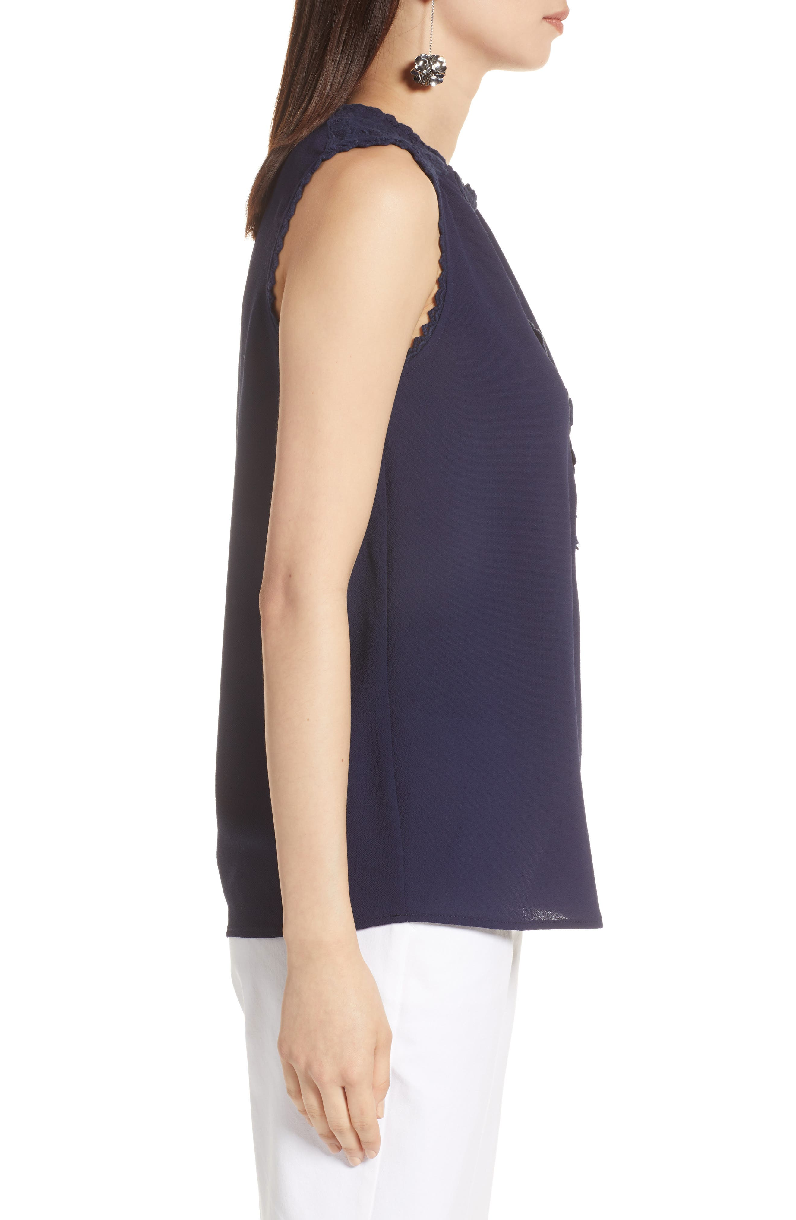 Lace Detail Stretch Crepe Tank Top,                             Alternate thumbnail 3, color,                             Navy Peacoat