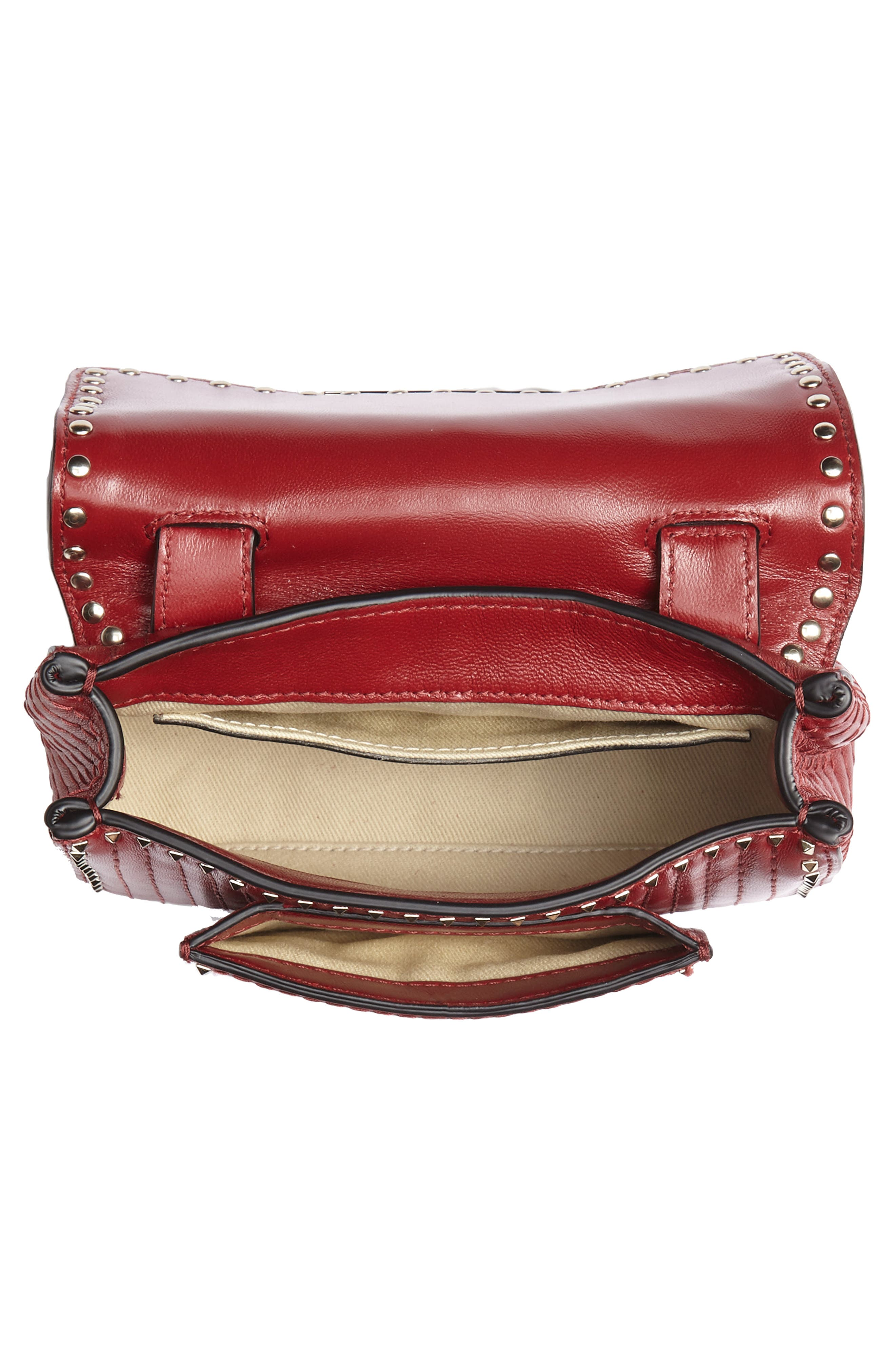 Mini Ziggystud Leather Convertible Crossbody/Belt Bag,                             Alternate thumbnail 6, color,                             Rosso