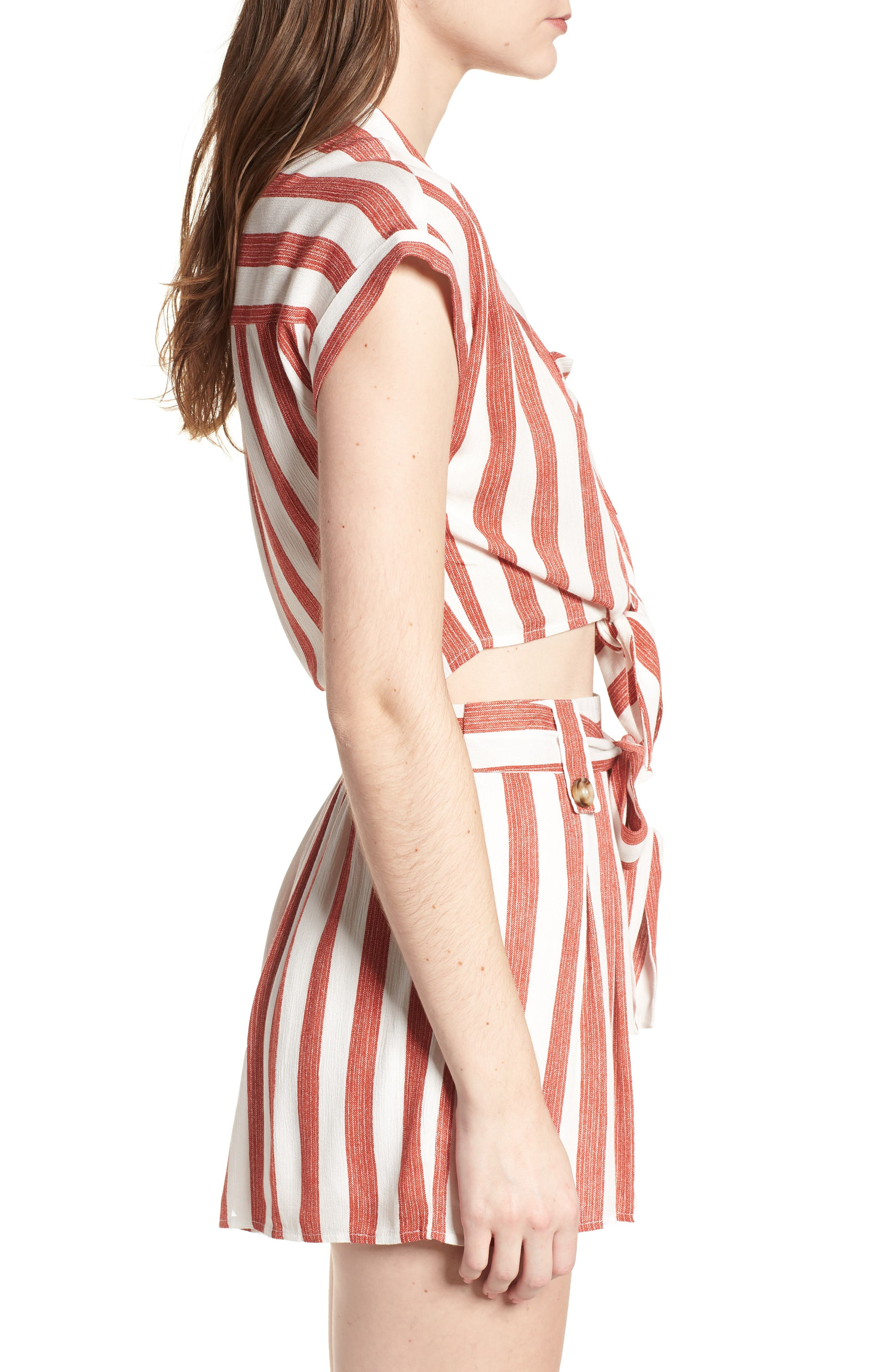 Stripe Tie Front Top,                             Alternate thumbnail 4, color,                             Red/ Ivory