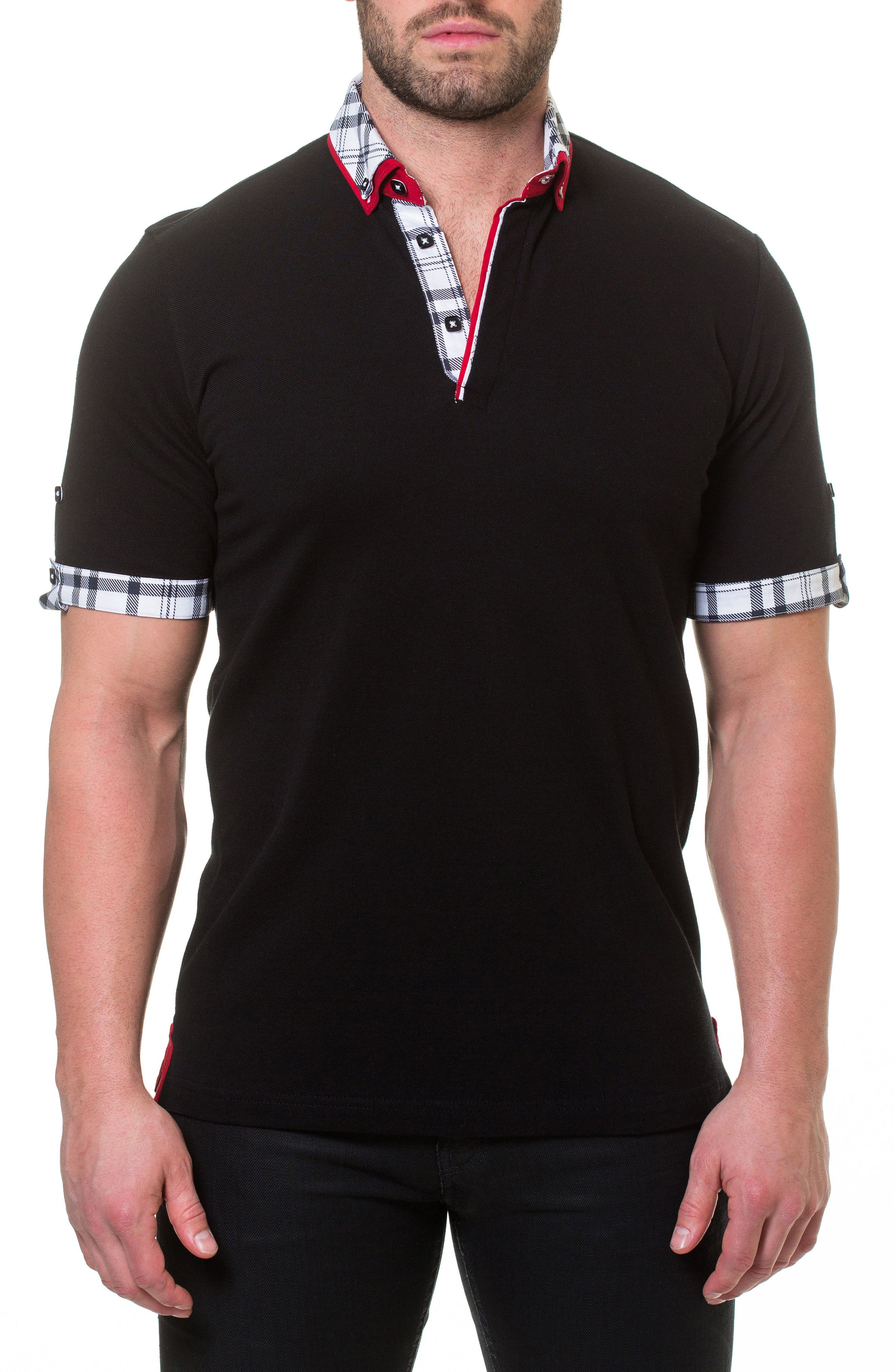 Woven Trim Polo,                         Main,                         color, Black