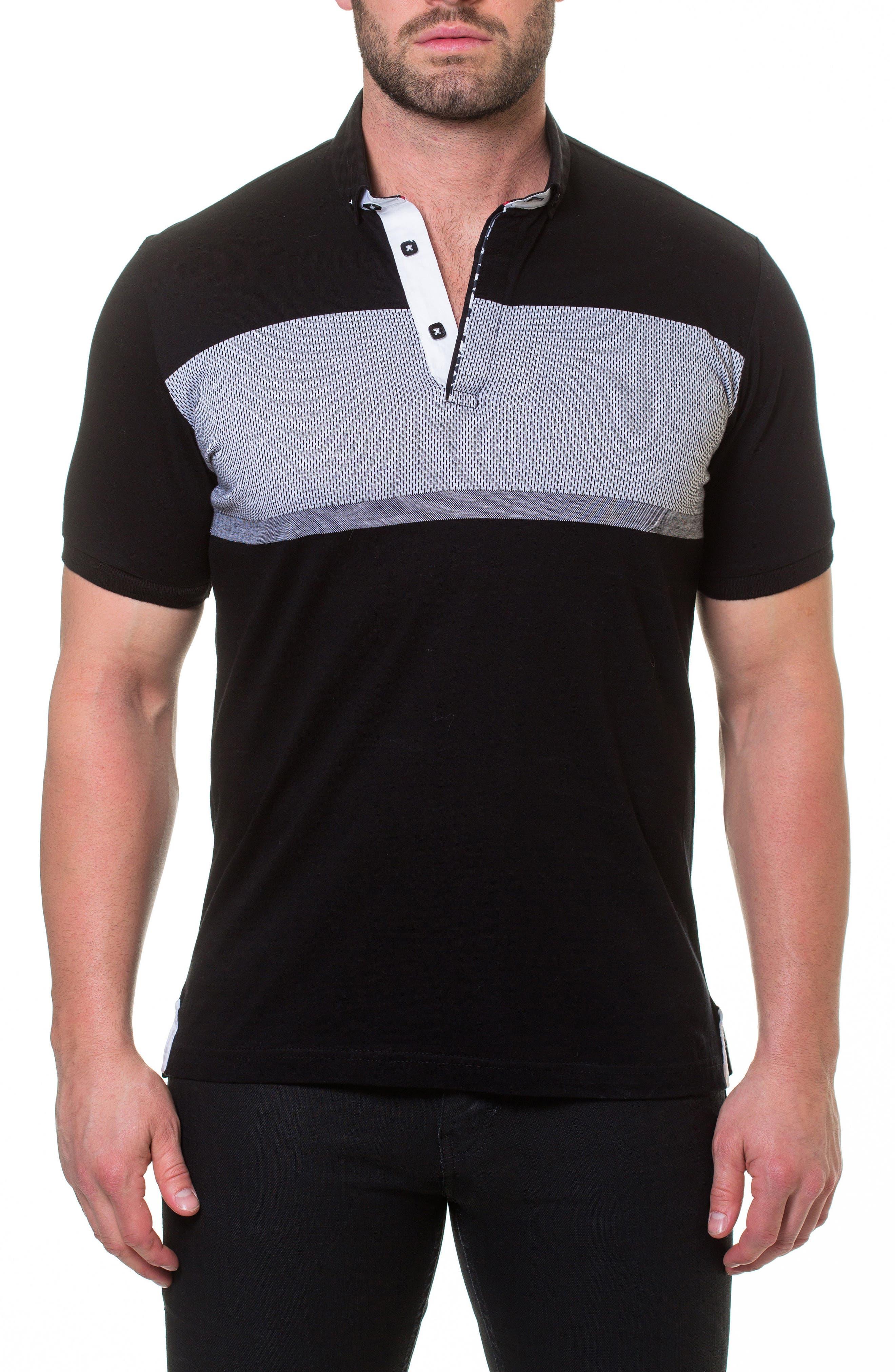 Wide Stripe Polo,                         Main,                         color, Black