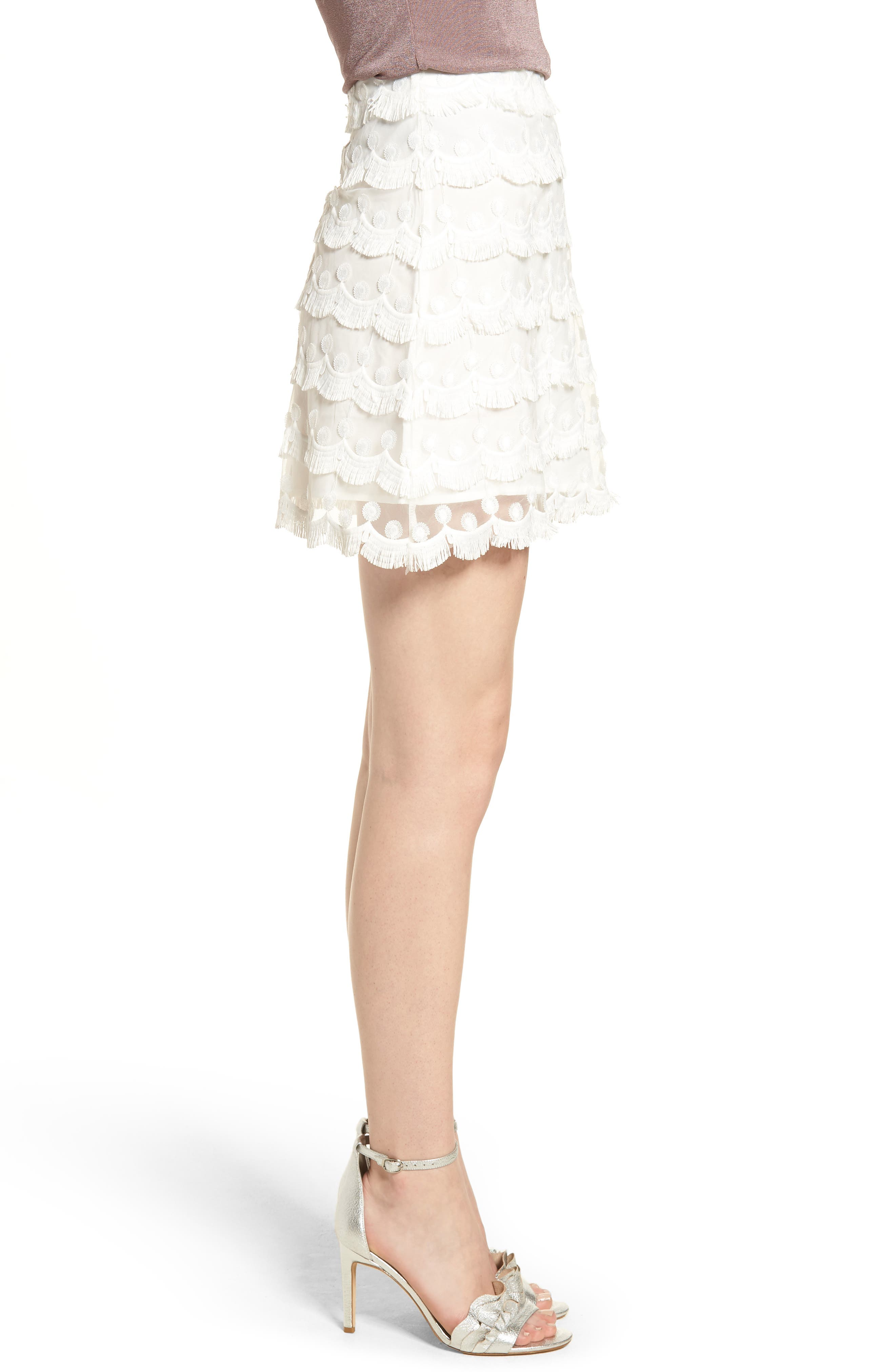 3D Lace Fringed Miniskirt,                             Alternate thumbnail 4, color,                             White