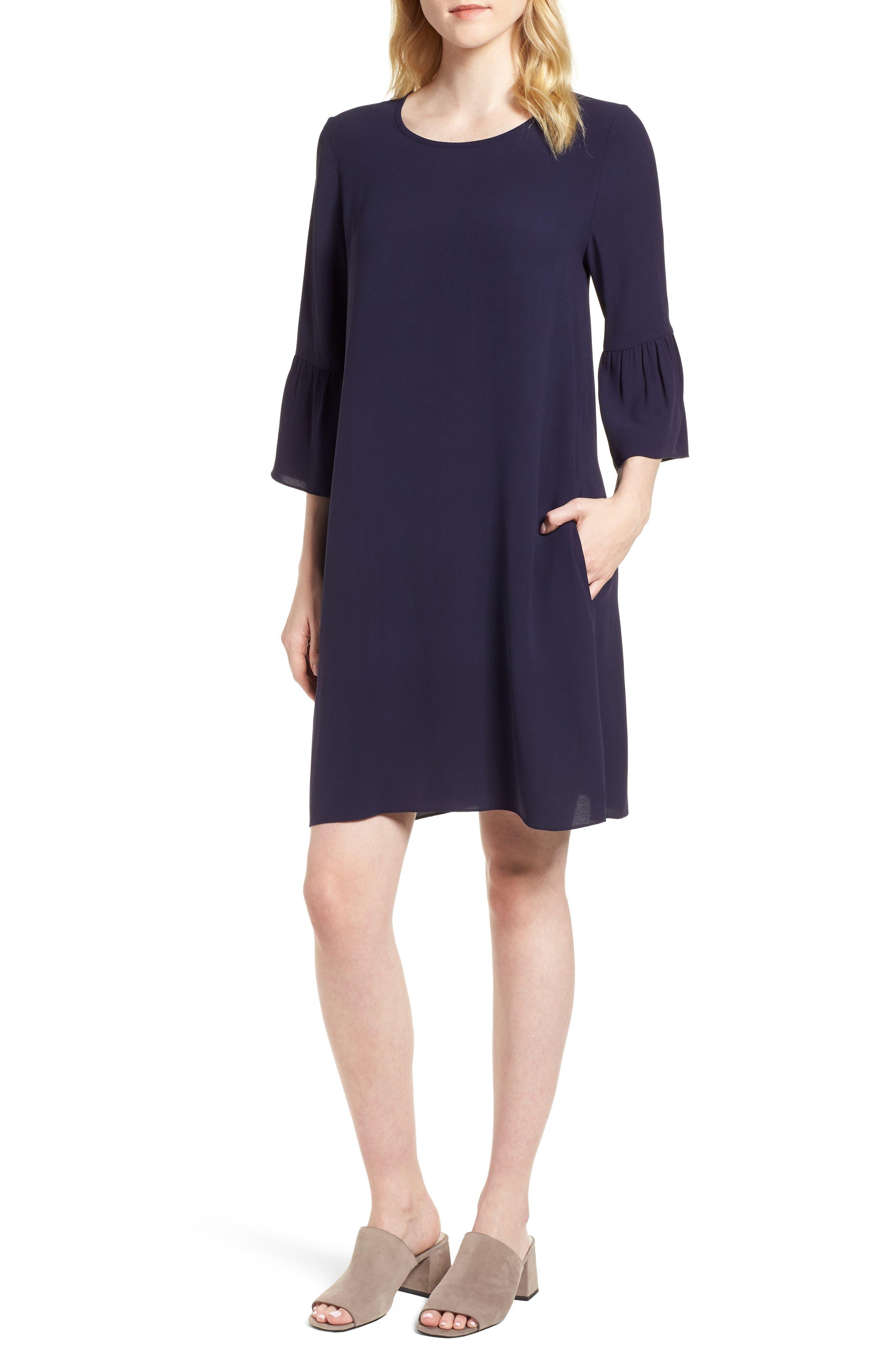 Flare Sleeve Silk Dress,                         Main,                         color, Salt Lake