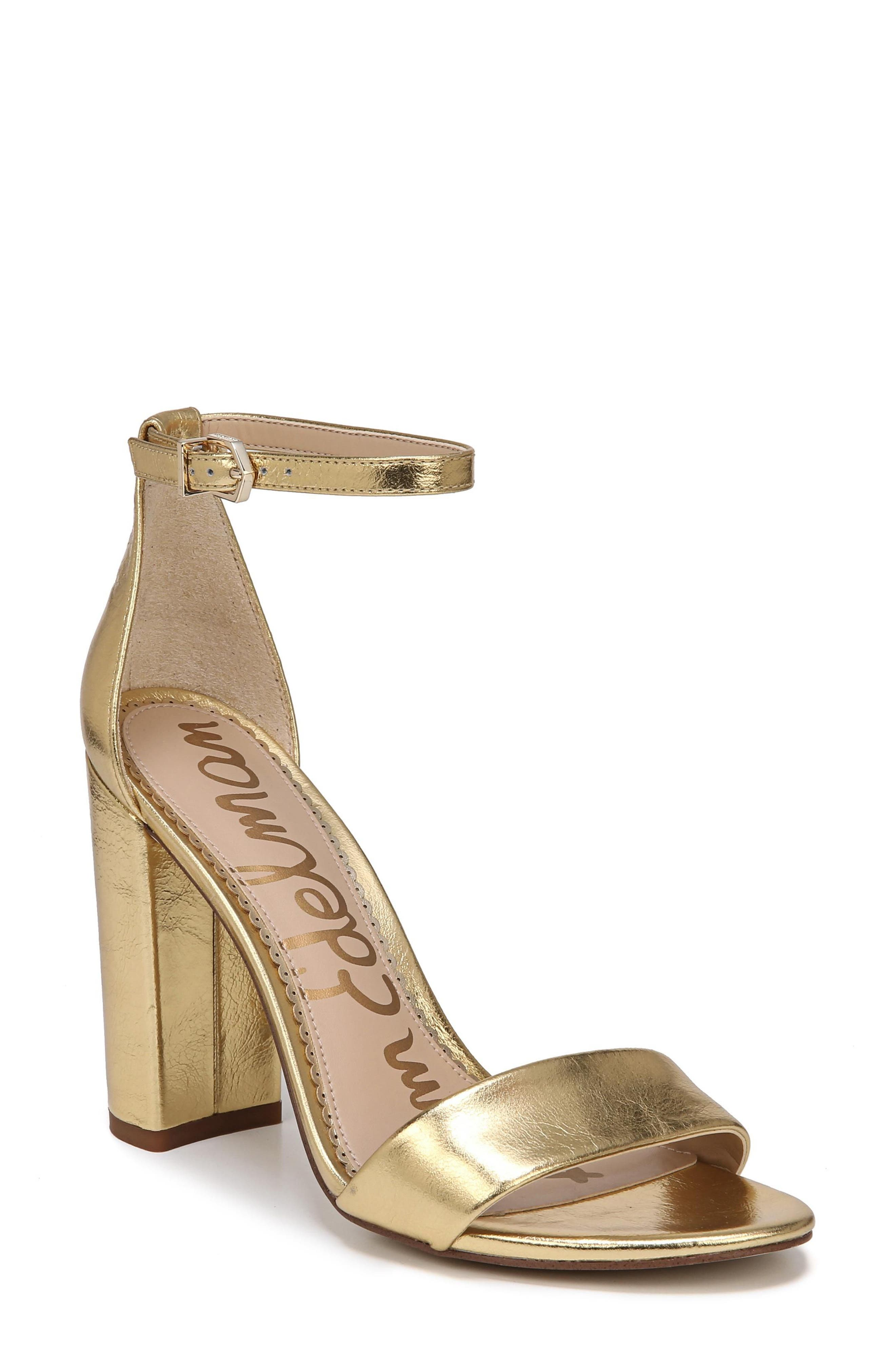 Yaro Ankle Strap Sandal,                         Main,                         color, Bright Gold Leather
