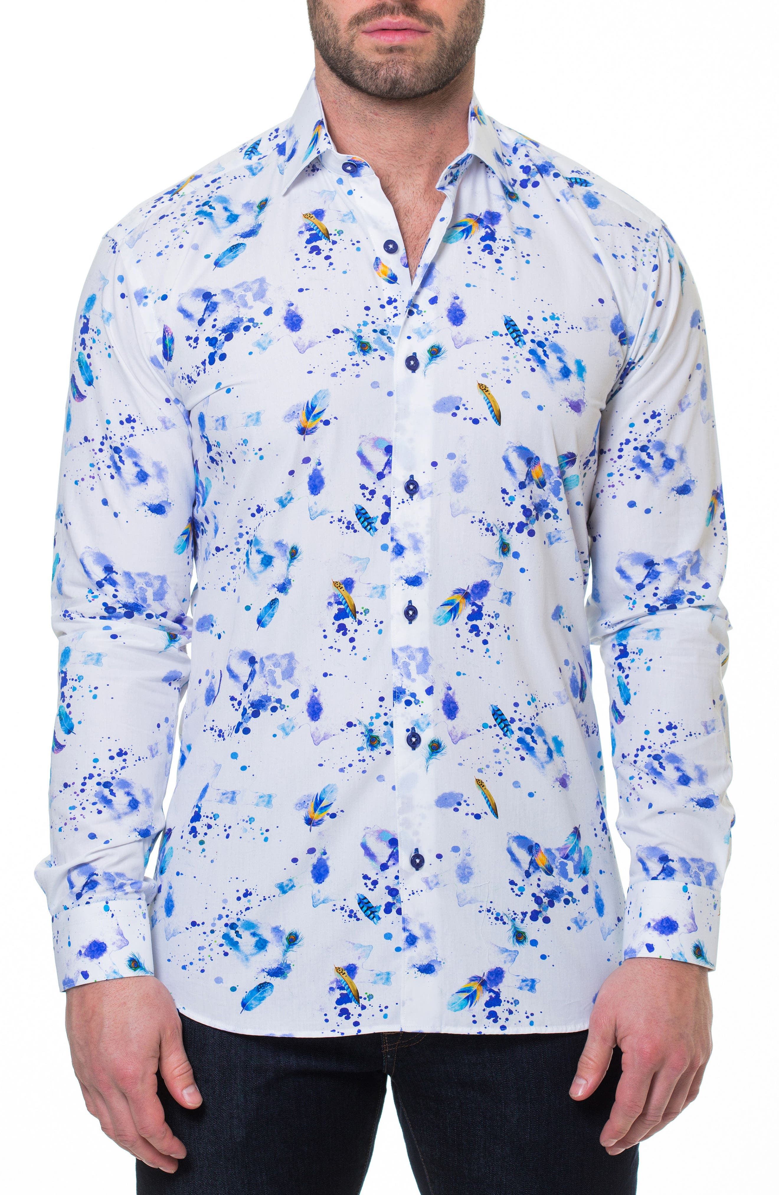 Luxor Peacock Splatter Slim Fit Sport Shirt,                             Alternate thumbnail 3, color,                             White