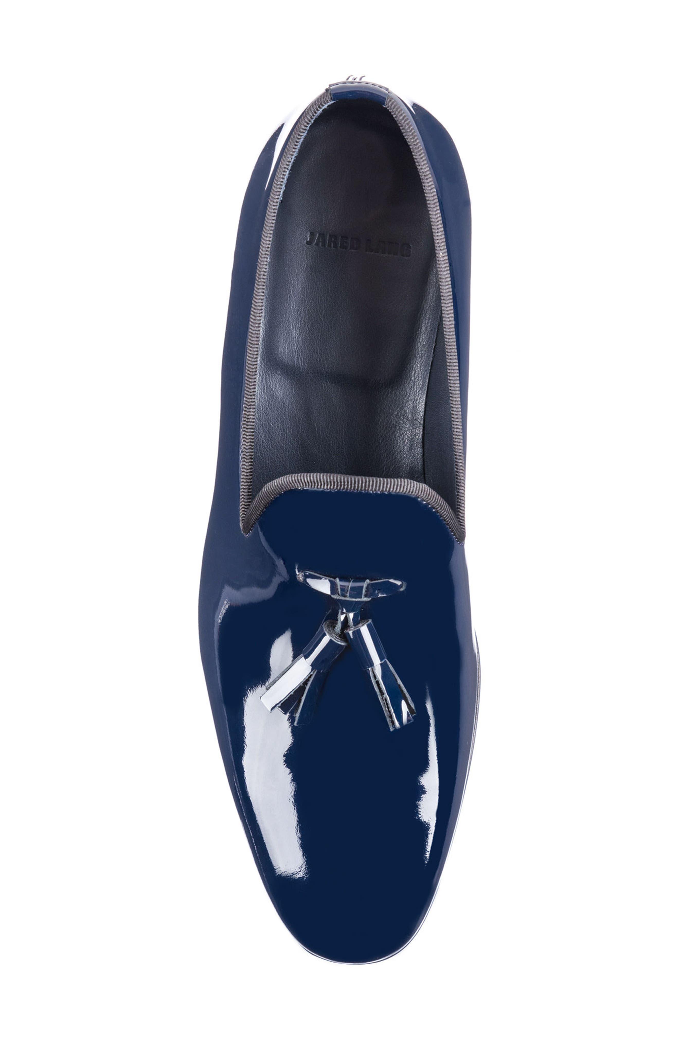Enzo Tasseled Venetian Loafer,                             Alternate thumbnail 5, color,                             Navy Leather