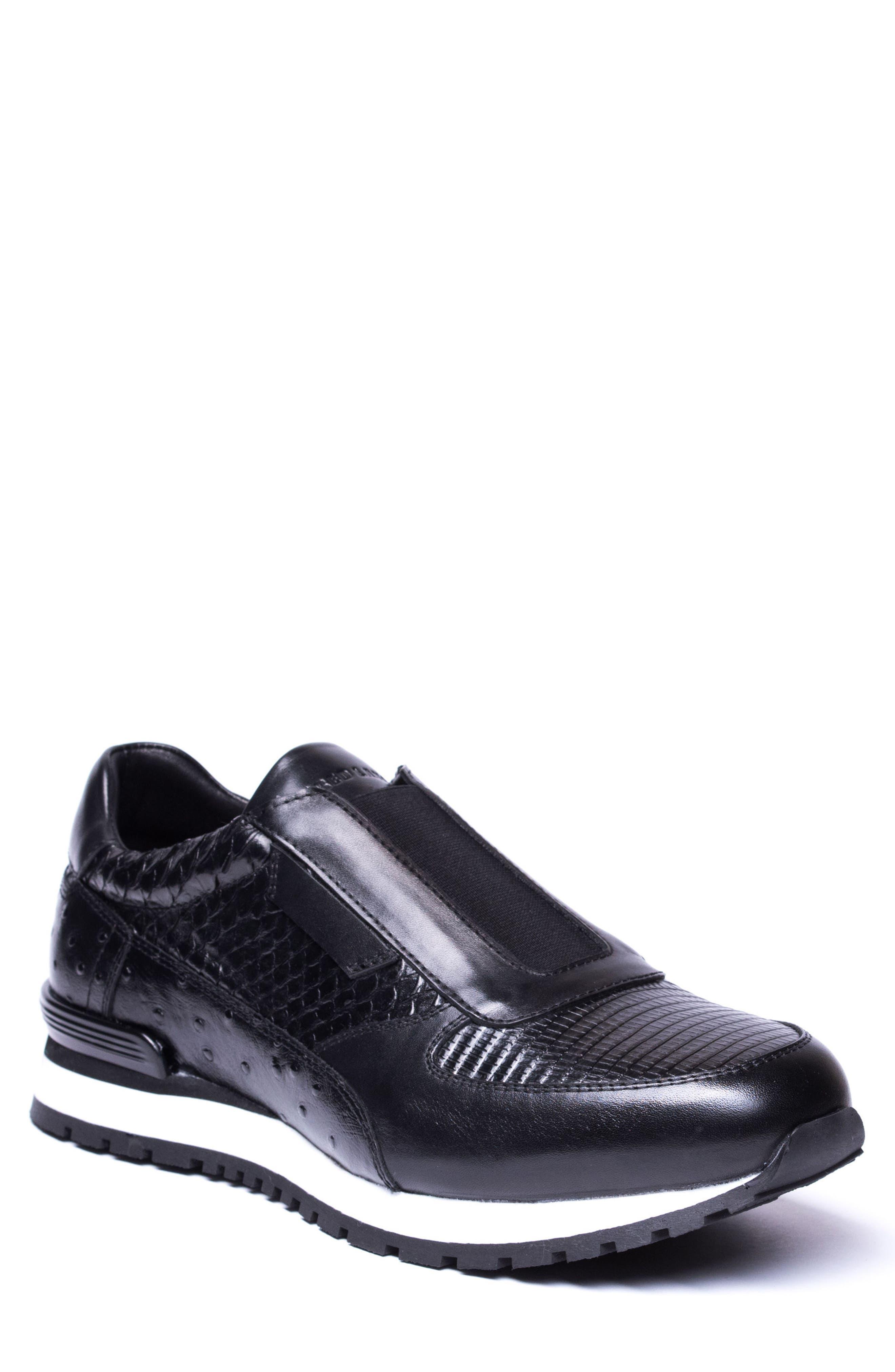 Barrett Embossed Slip-On Sneaker,                             Main thumbnail 1, color,                             Black Leather