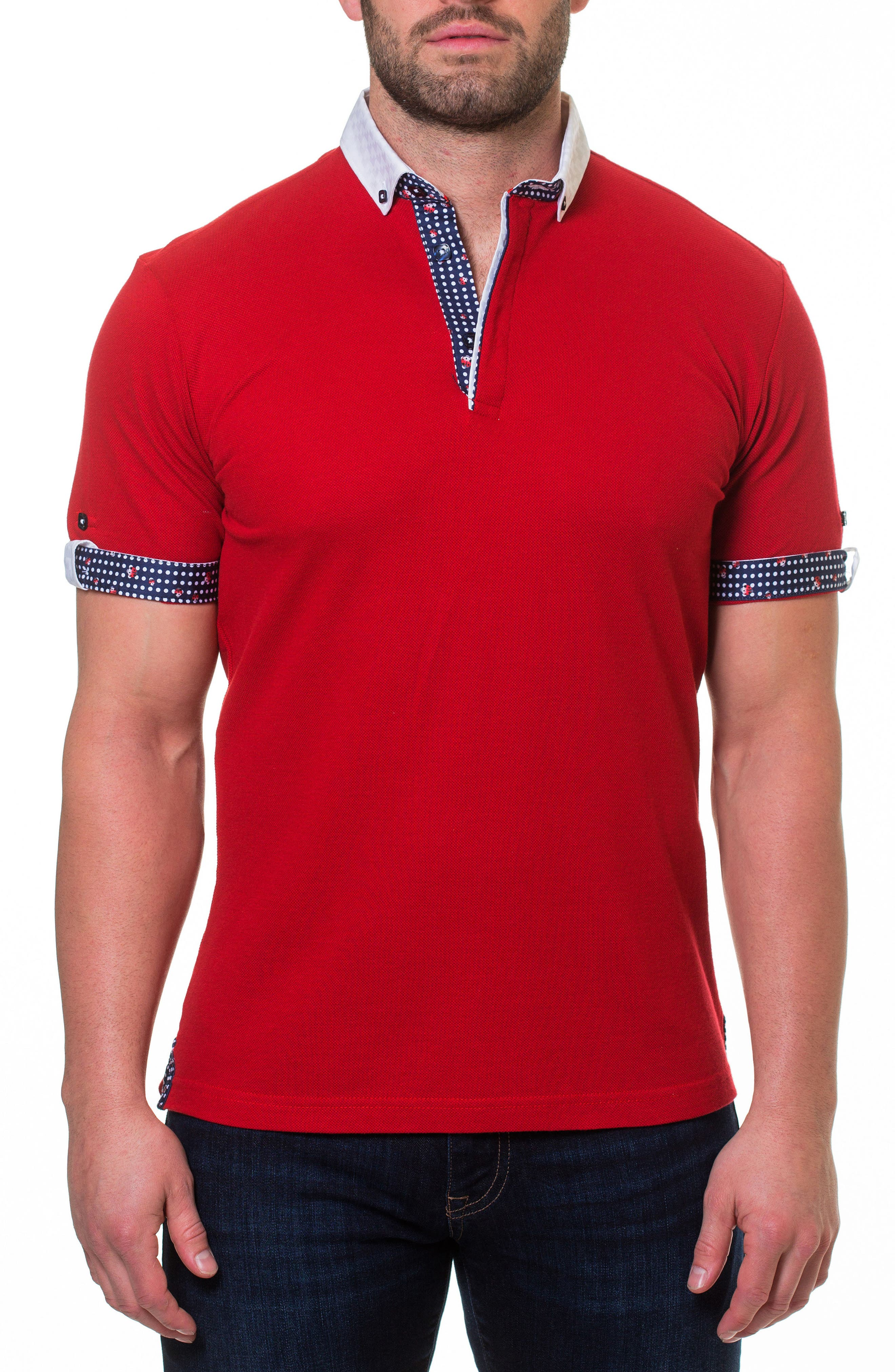 Woven Trim Polo,                             Main thumbnail 1, color,                             Red