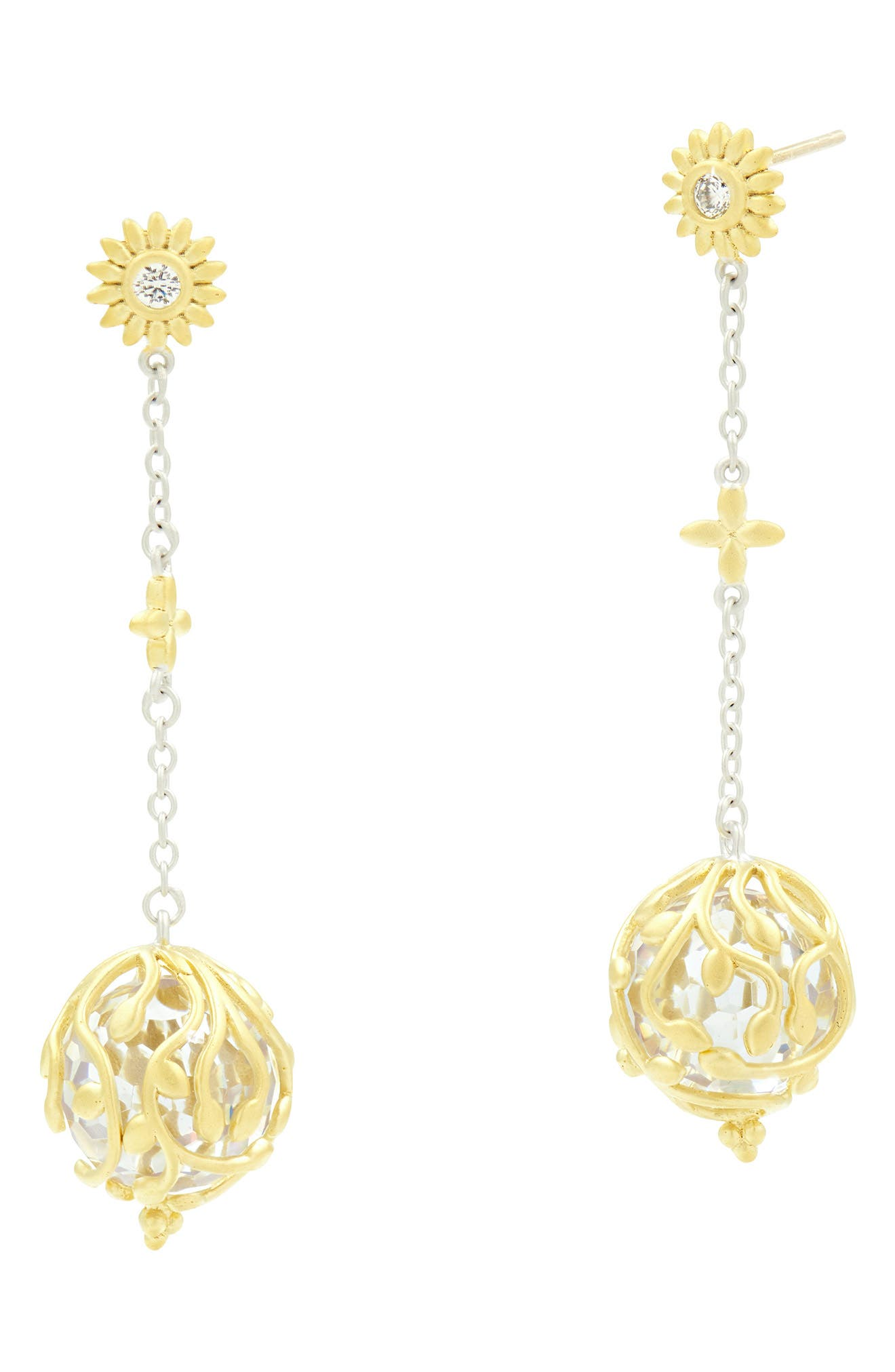 FREIDA ROTHMAN Fleur Bloom Ball Drop Earrings