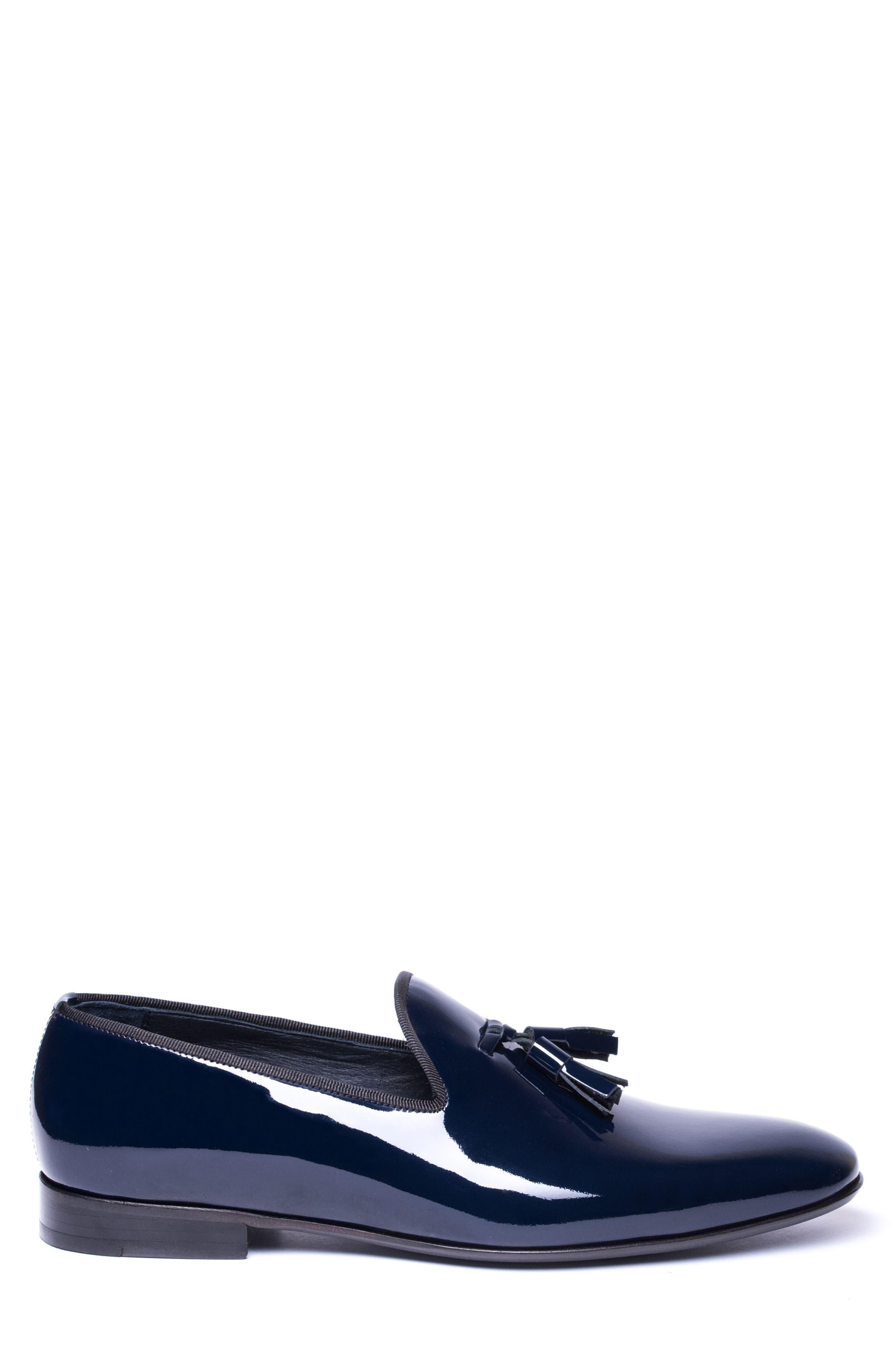 Enzo Tasseled Venetian Loafer,                             Alternate thumbnail 3, color,                             Navy Leather