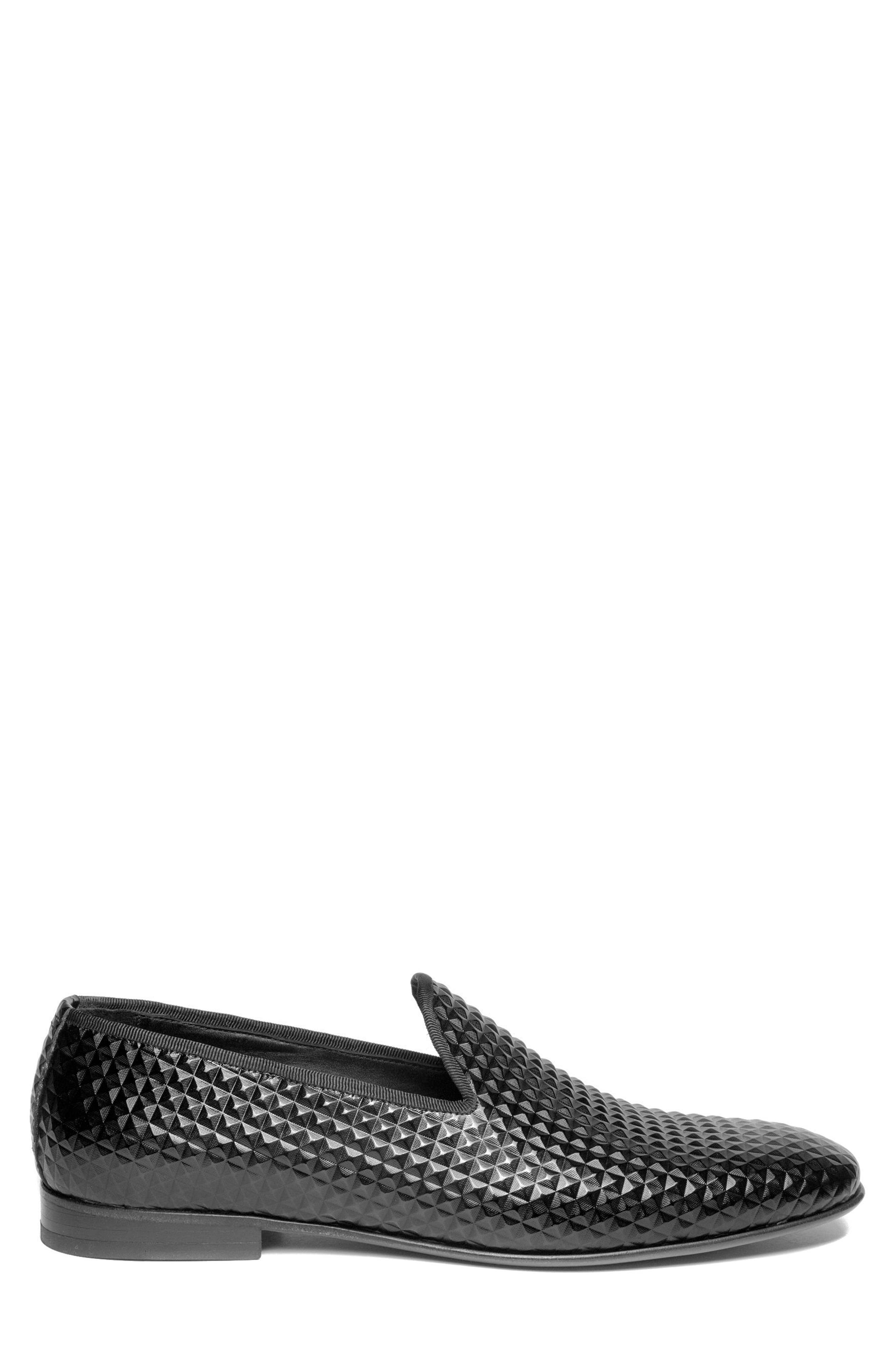 Hugh Pyramid Embossed Venetian Loafer,                             Alternate thumbnail 3, color,                             Black Leather