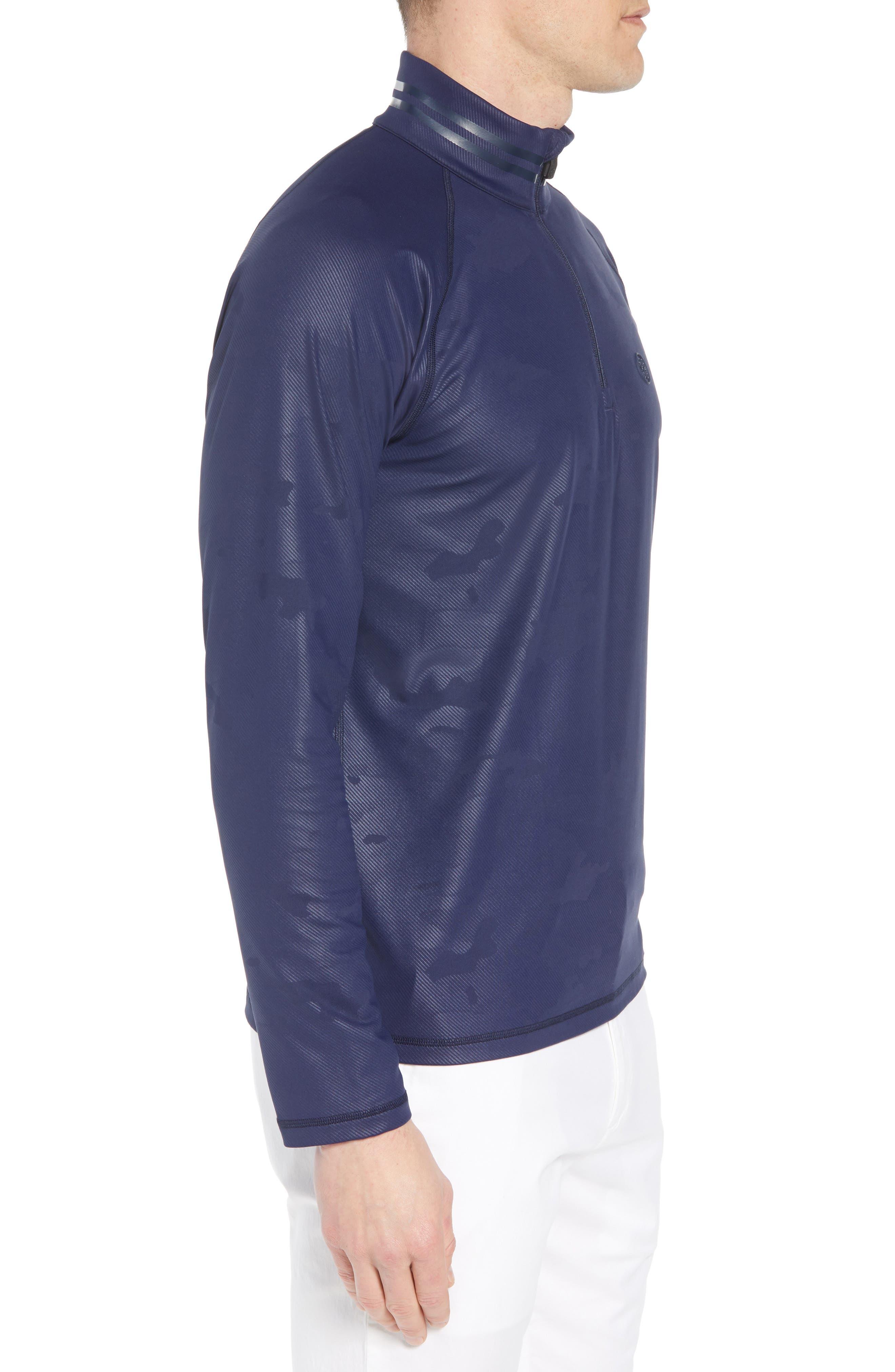 Camo Regular Fit Quarter-Zip Pullover,                             Alternate thumbnail 3, color,                             Twilight