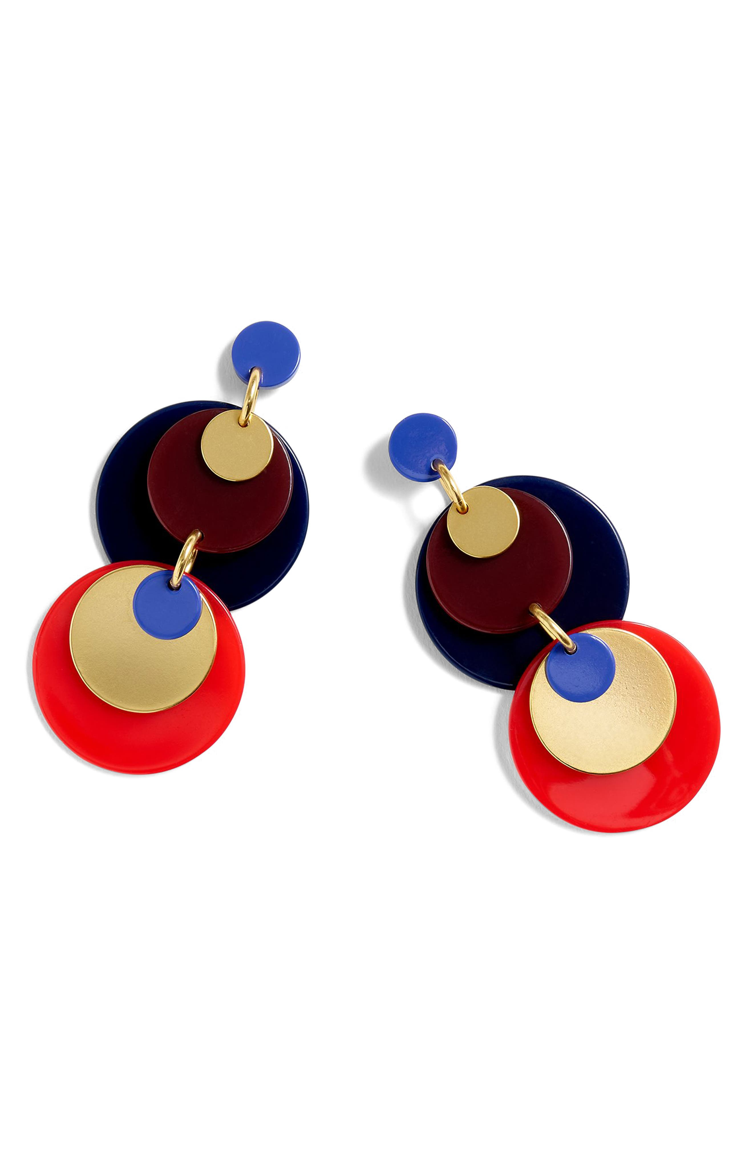 Abba Statement Disc Earrings,                         Main,                         color, Red Multi