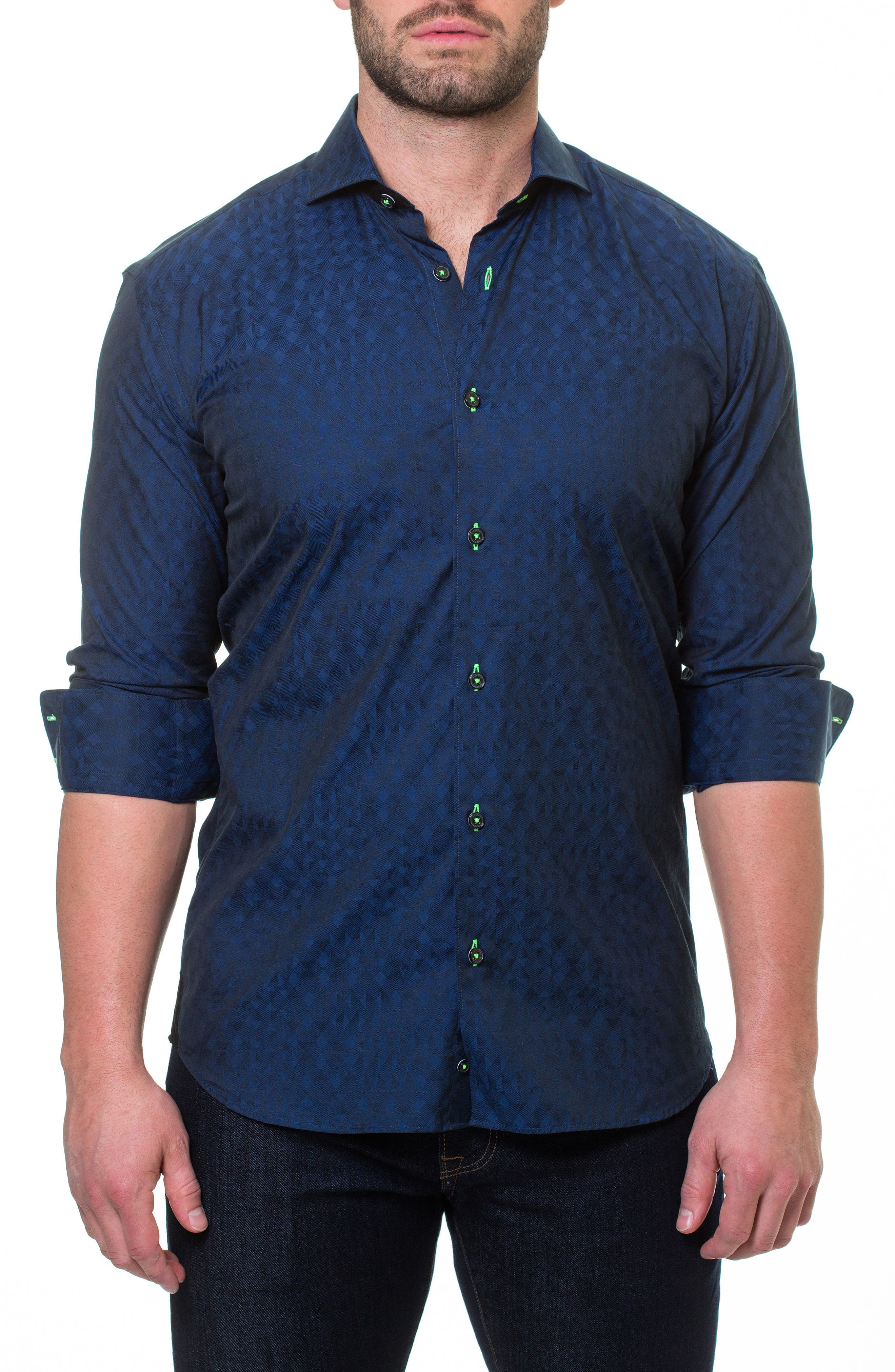Wall Street ABC Blue Slim Fit Sport Shirt,                         Main,                         color, Blue