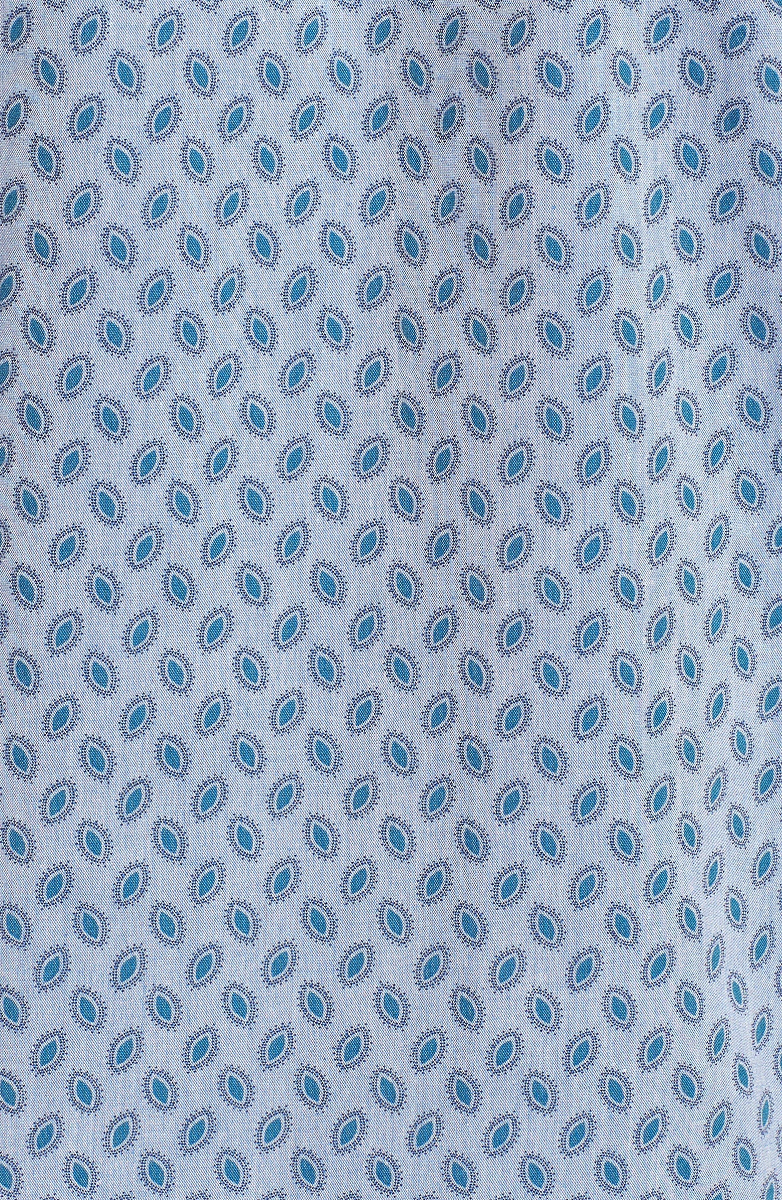 Newfott Extra Slim Fit Short Sleeve Sport Shirt,                             Alternate thumbnail 5, color,                             Blue