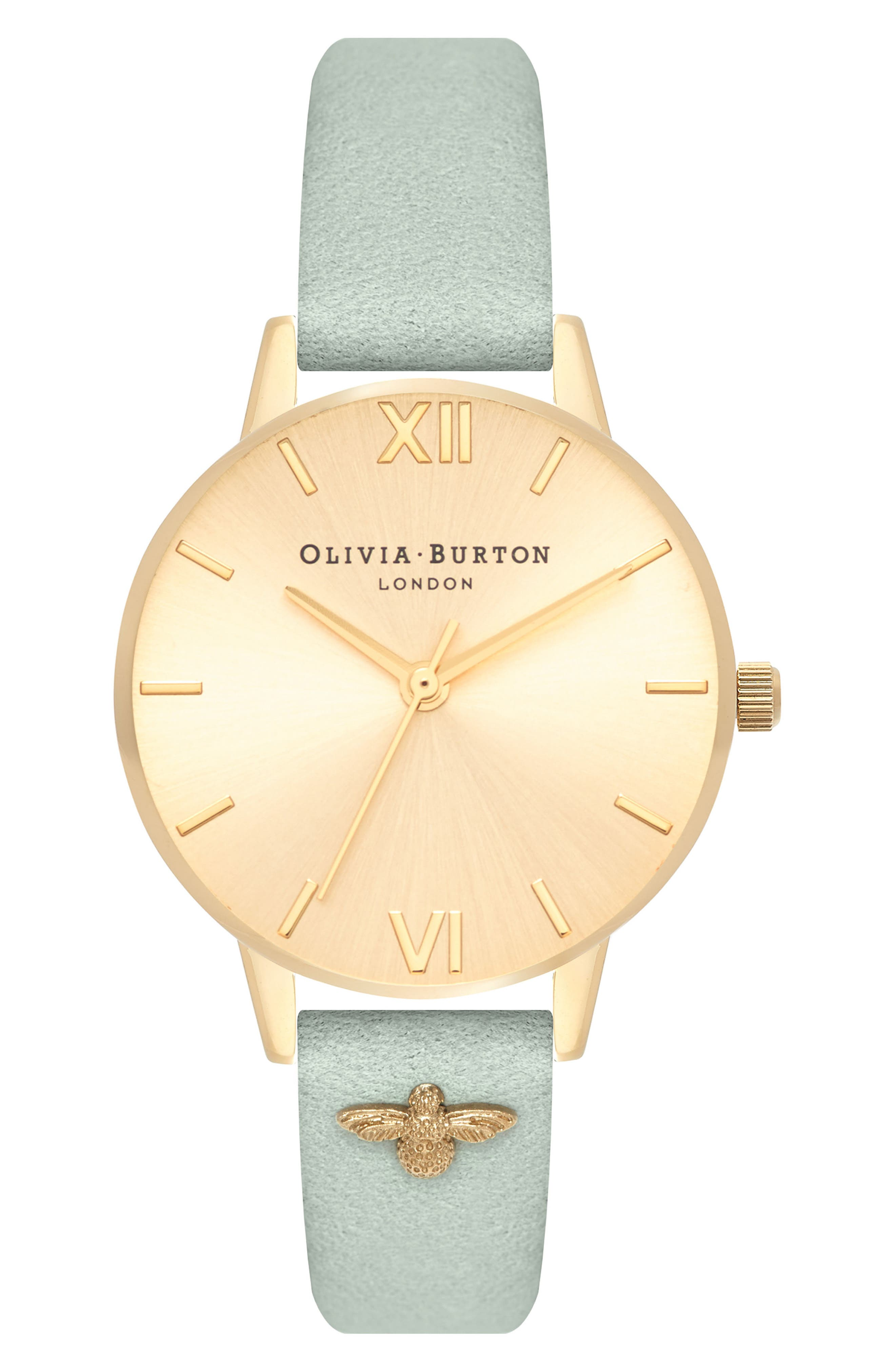 Bee Leather Strap Watch, 30mm,                         Main,                         color, Sage/ Gold