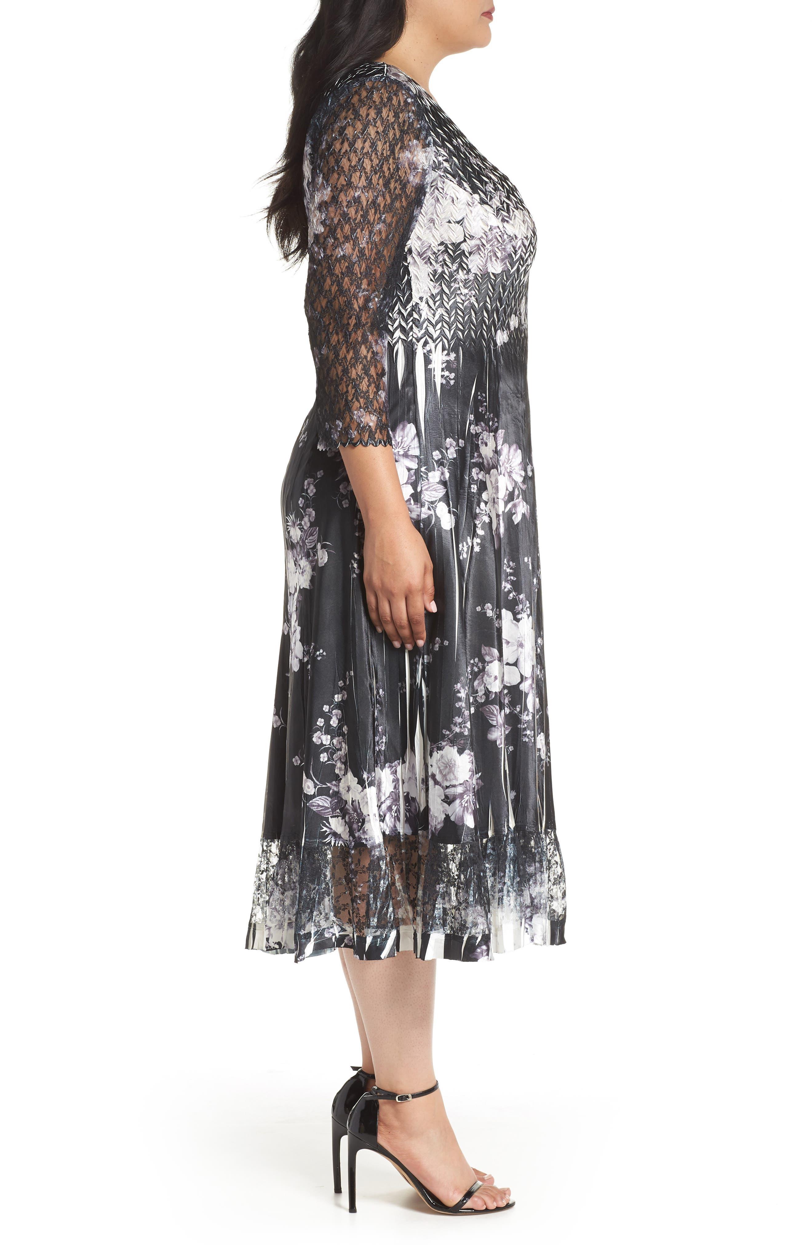Lace & Charmeuse A-Line Dress,                             Alternate thumbnail 3, color,                             Eclipse Meadow