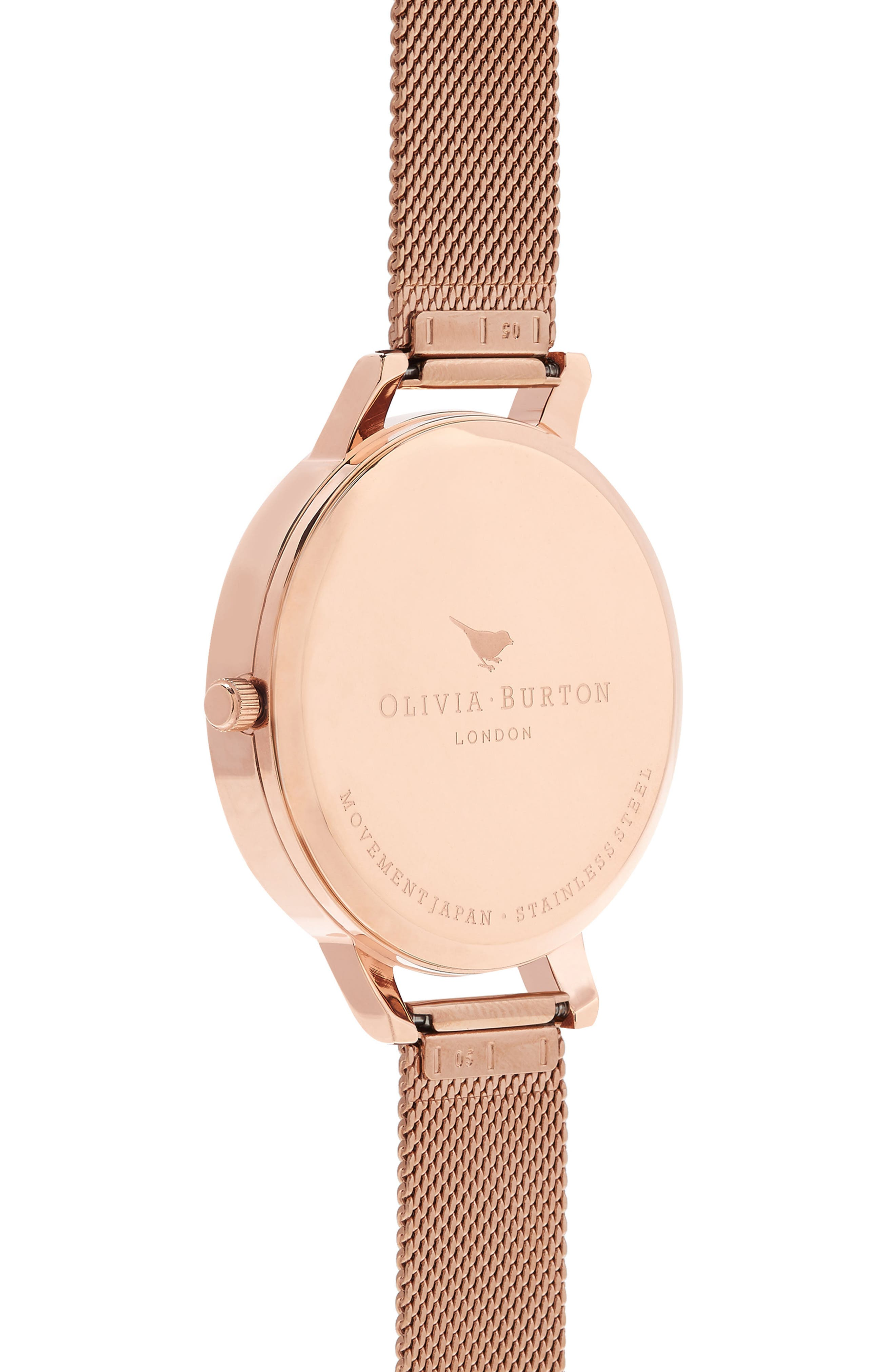 Marble Floral Mesh Strap Watch, 38mm,                             Alternate thumbnail 2, color,                             Rose Gold/Floral/ Rose Gold