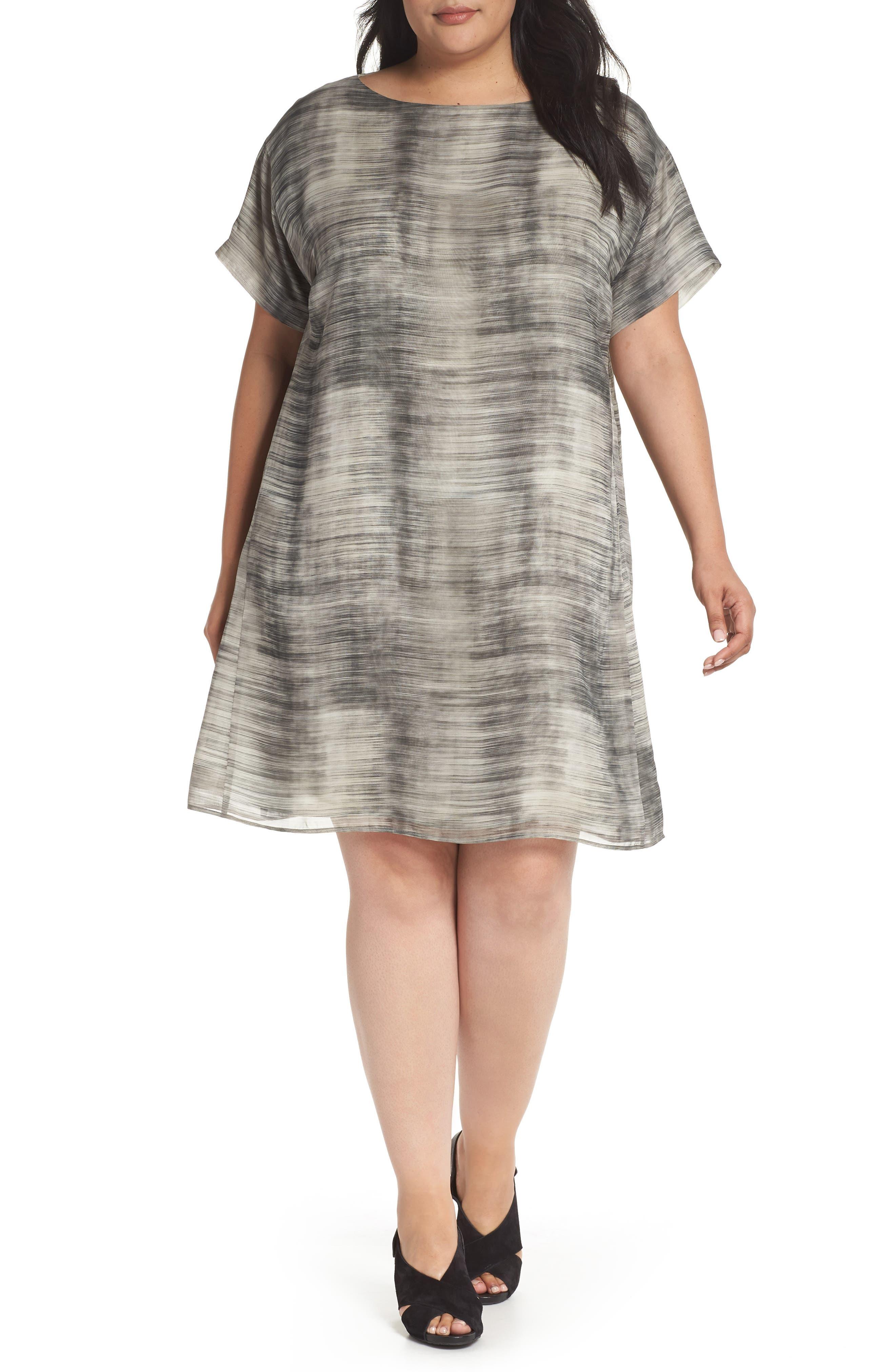 Bateau Neck Silk Shift Dress,                         Main,                         color, Limestone