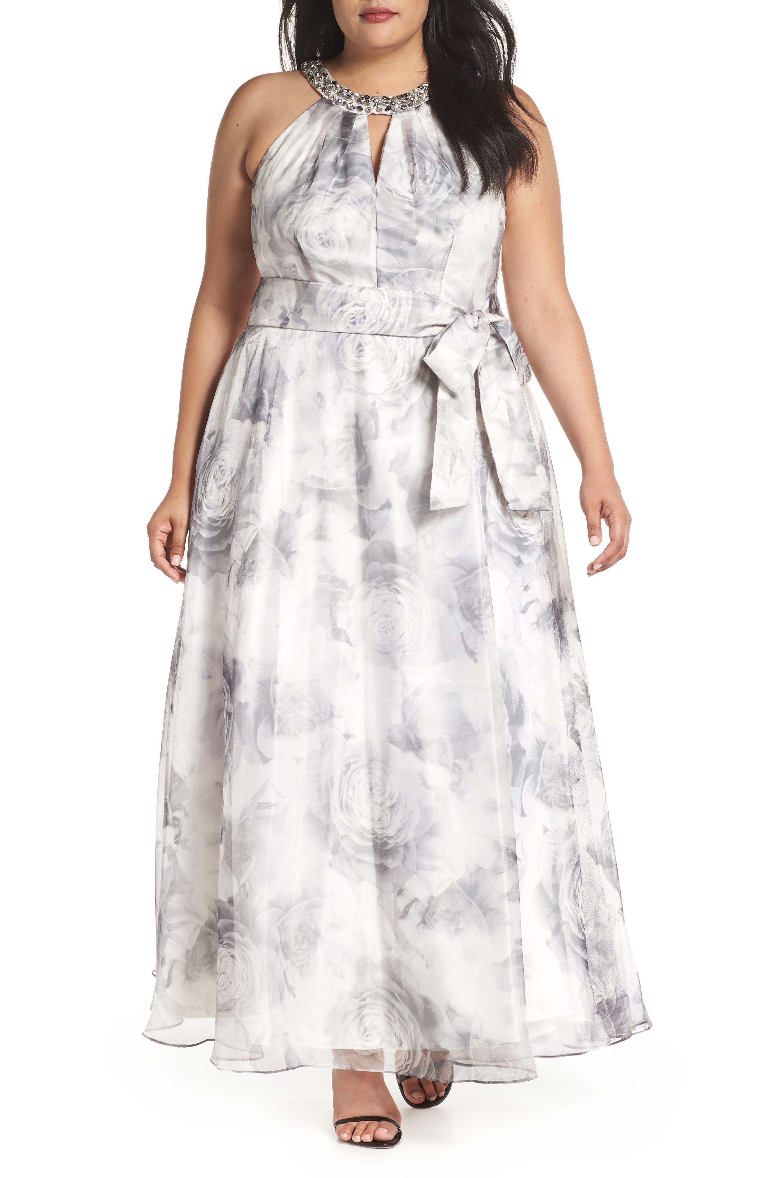 Embellished Neck Rose Print Ballgown,                         Main,                         color, Black/ White