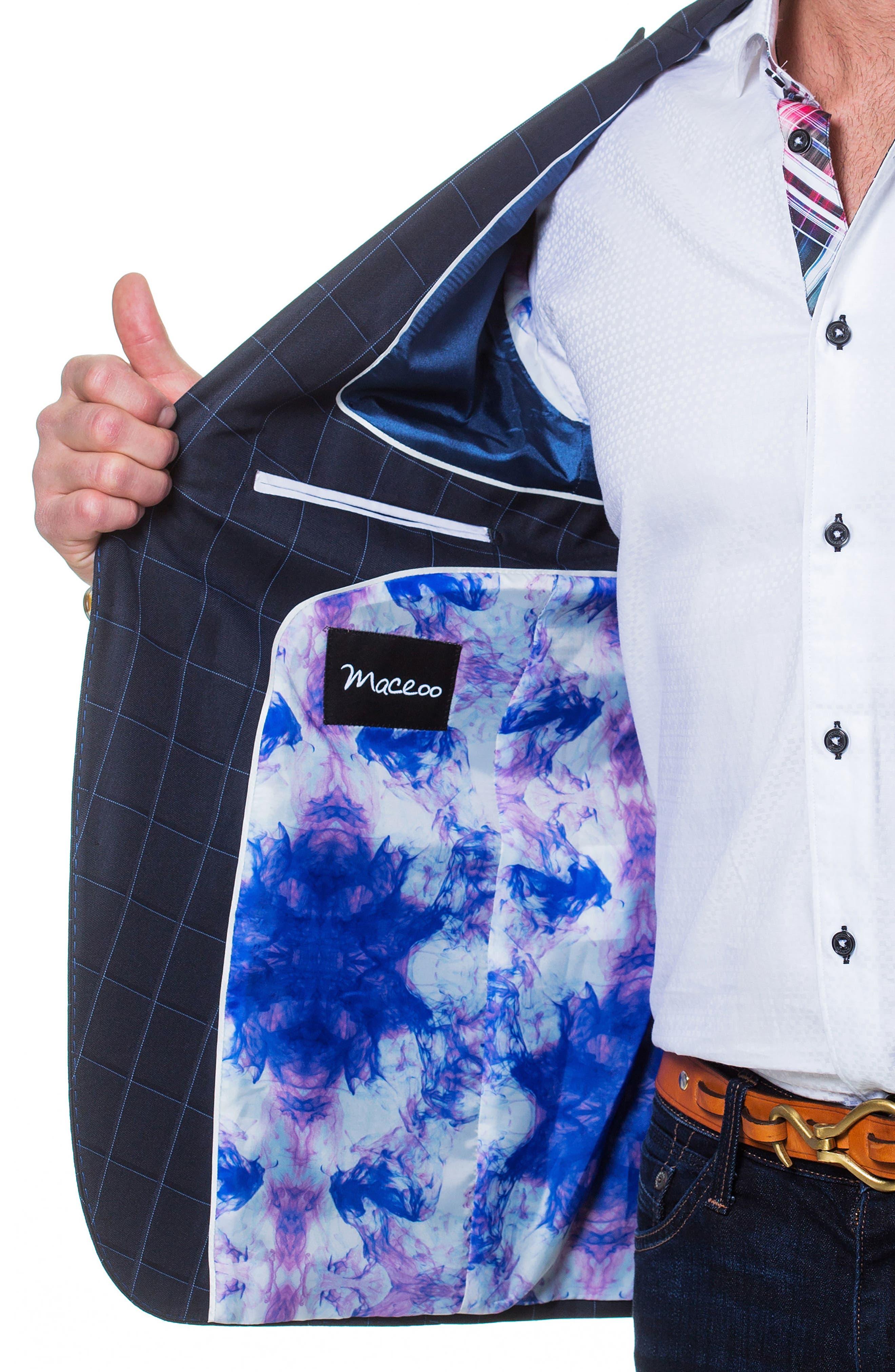 Descartes Check Linen & Cotton Blend Sport Coat,                             Alternate thumbnail 3, color,                             Blue