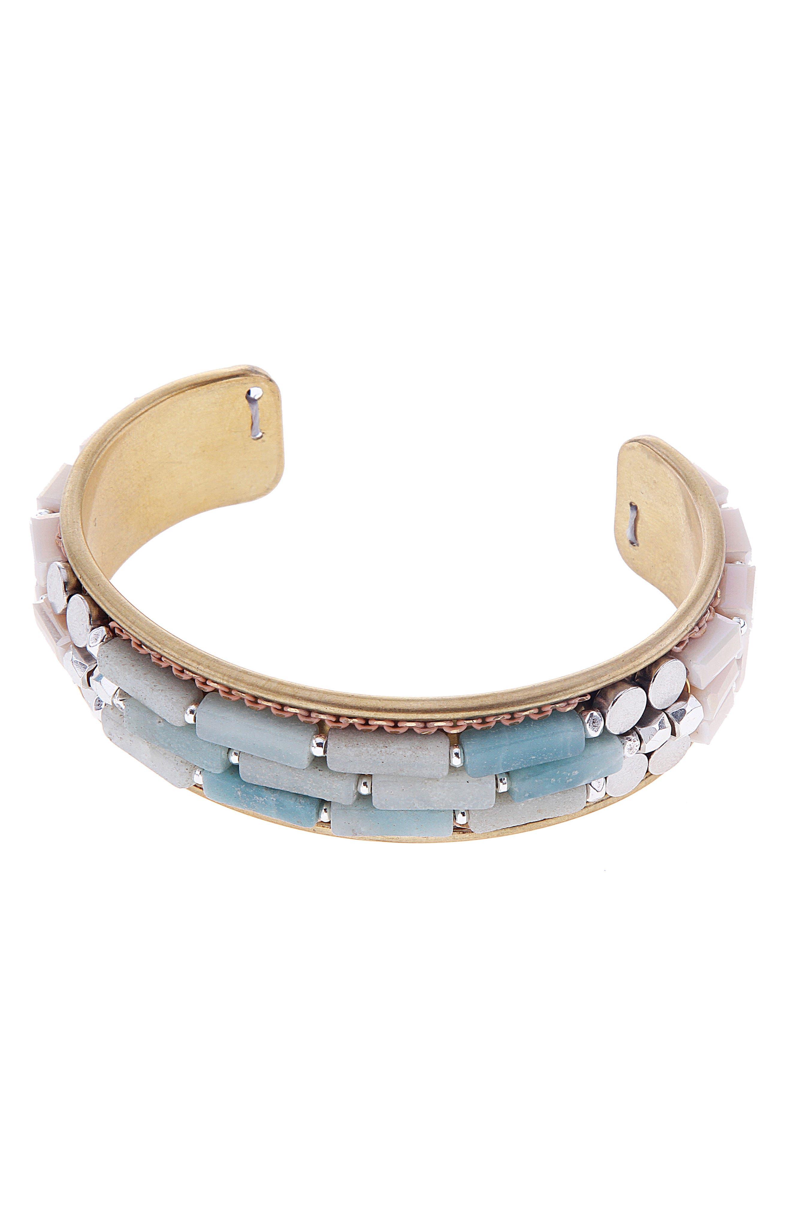 Amazonite & Strawberry Quartz Cuff Bracelet,                         Main,                         color, Aqua