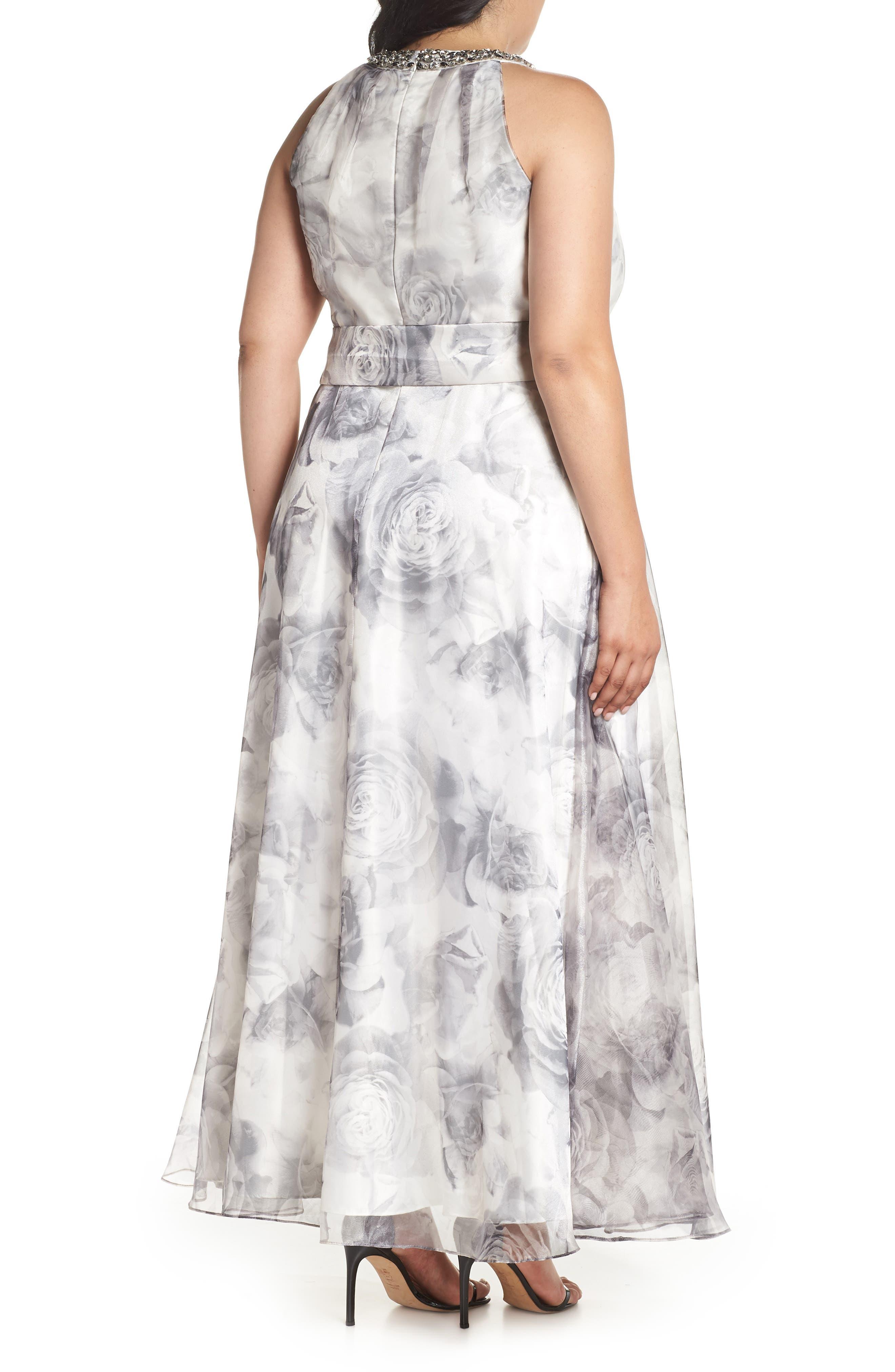 Embellished Neck Rose Print Ballgown,                             Alternate thumbnail 2, color,                             Black/ White