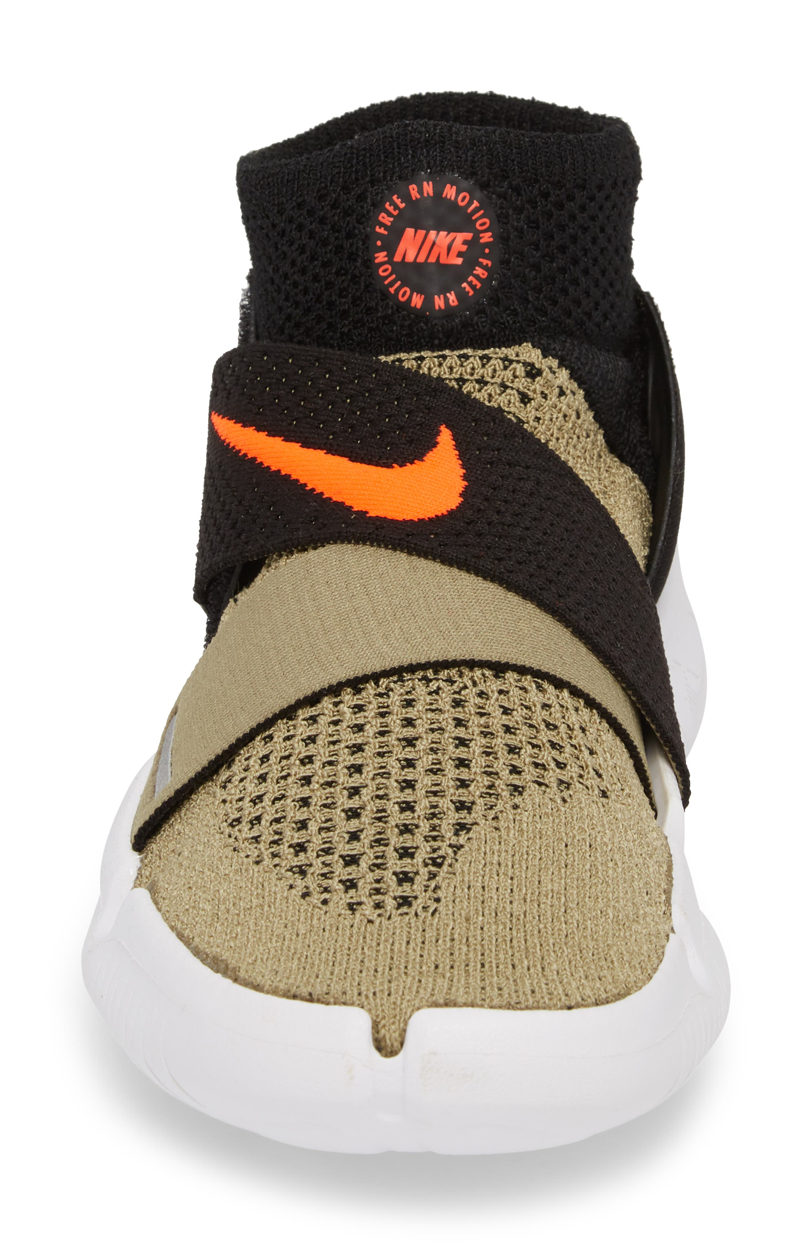 Free RN Motion 2018 Flyknit Running Shoe,                             Alternate thumbnail 4, color,                             Neutral Olive/ Bright Crimson