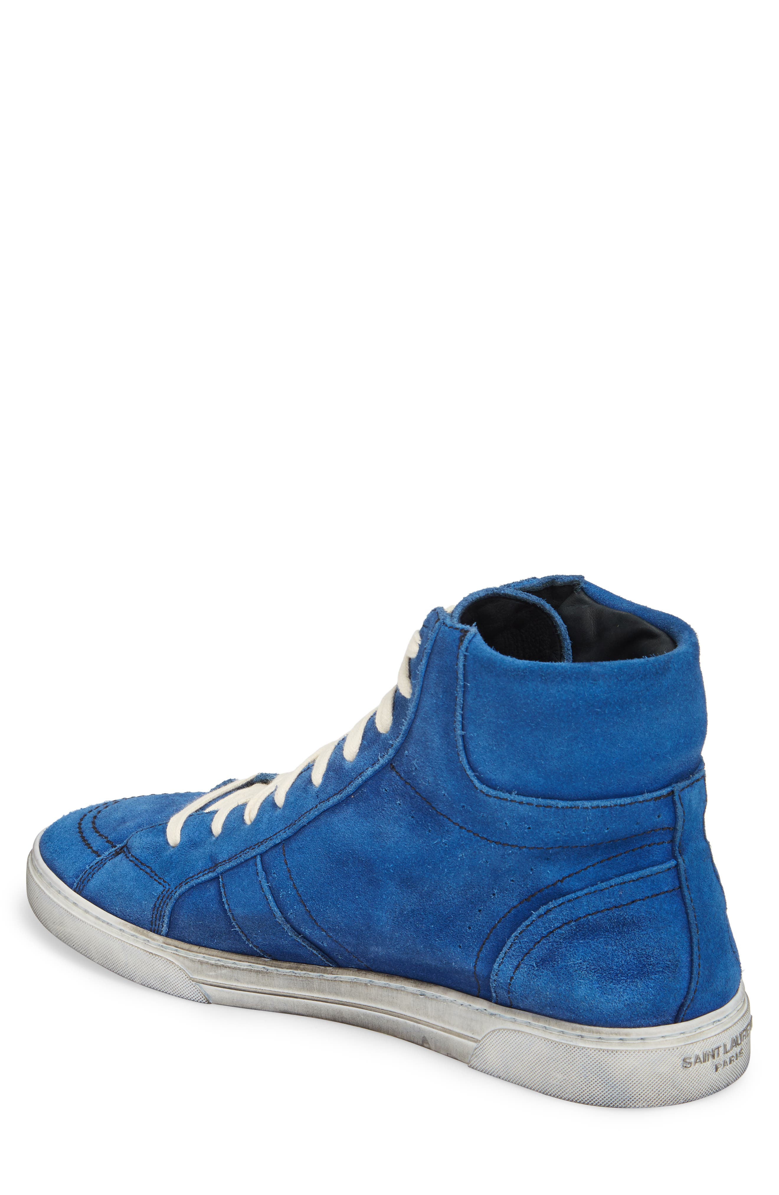 High Top Sneaker,                             Alternate thumbnail 2, color,                             Blue Suede