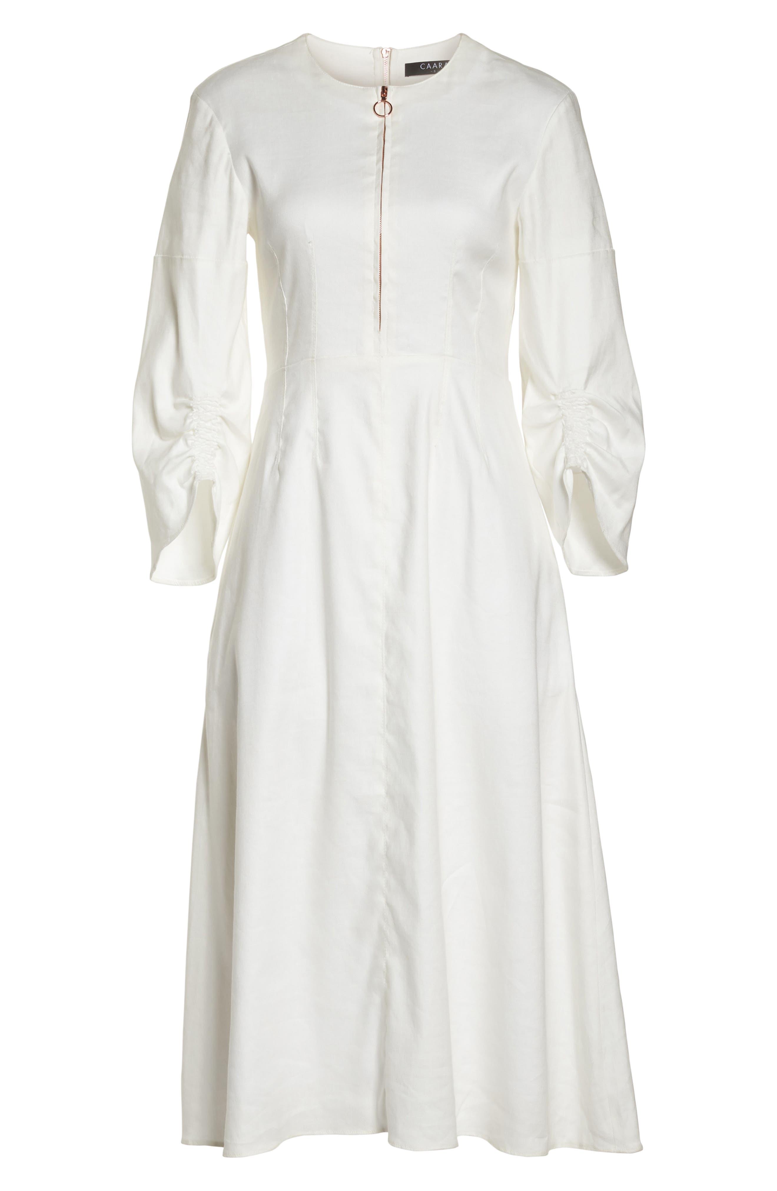 Zip Front Linen Blend Dress,                             Alternate thumbnail 7, color,                             White