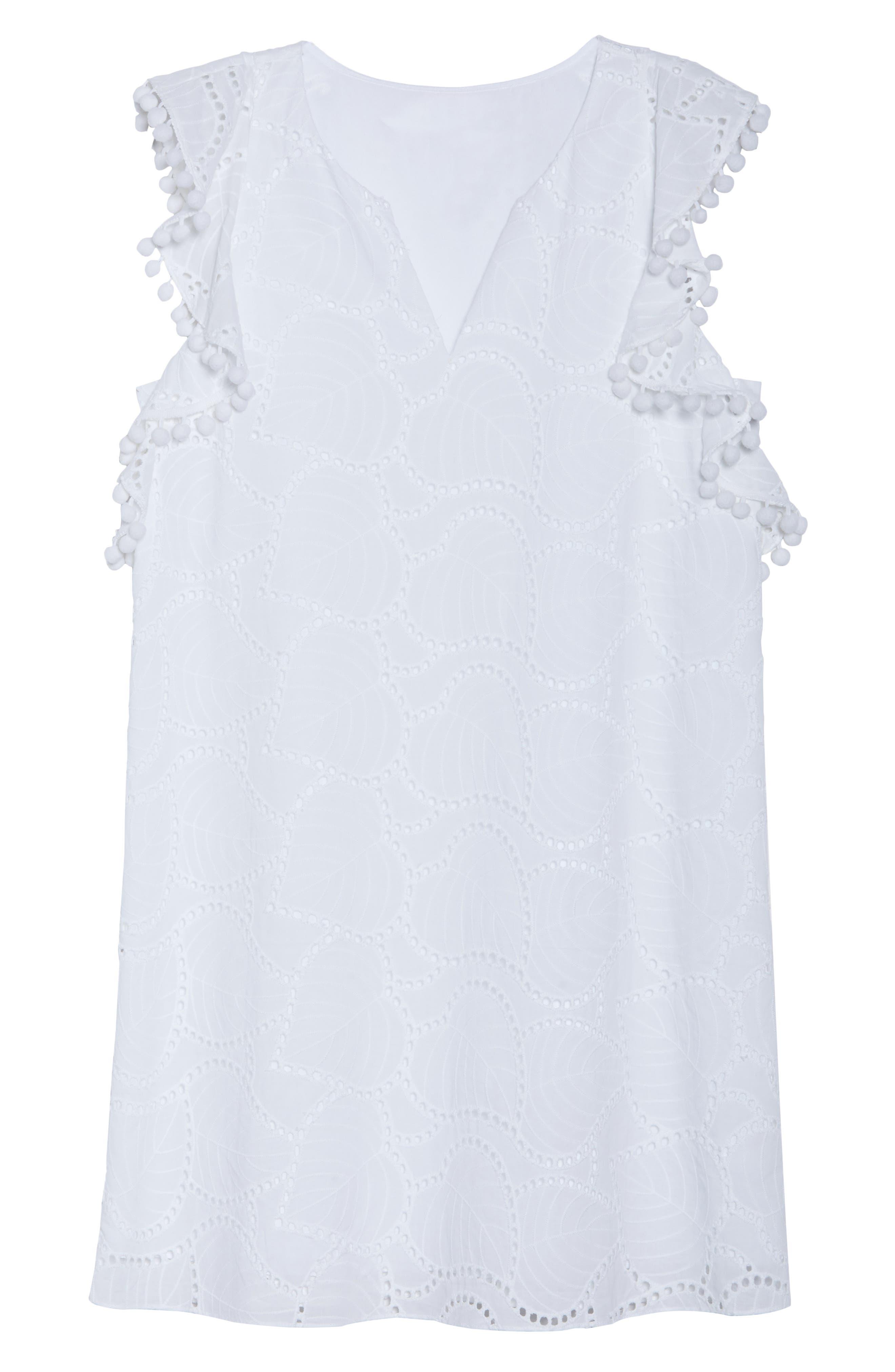 Astara Cotton Eyelet Dress,                             Alternate thumbnail 7, color,                             Resort White Leaf Eyelet