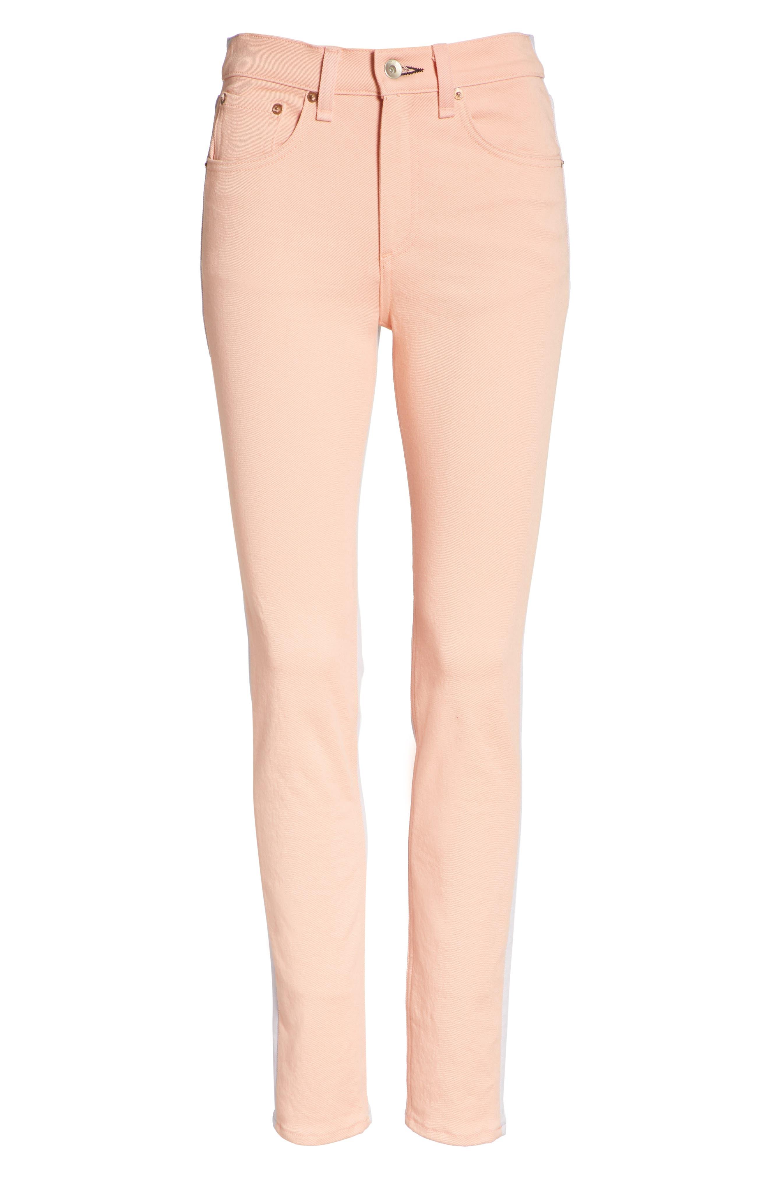 High Waist Skinny Jeans,                             Alternate thumbnail 6, color,                             Peach/ Lilac