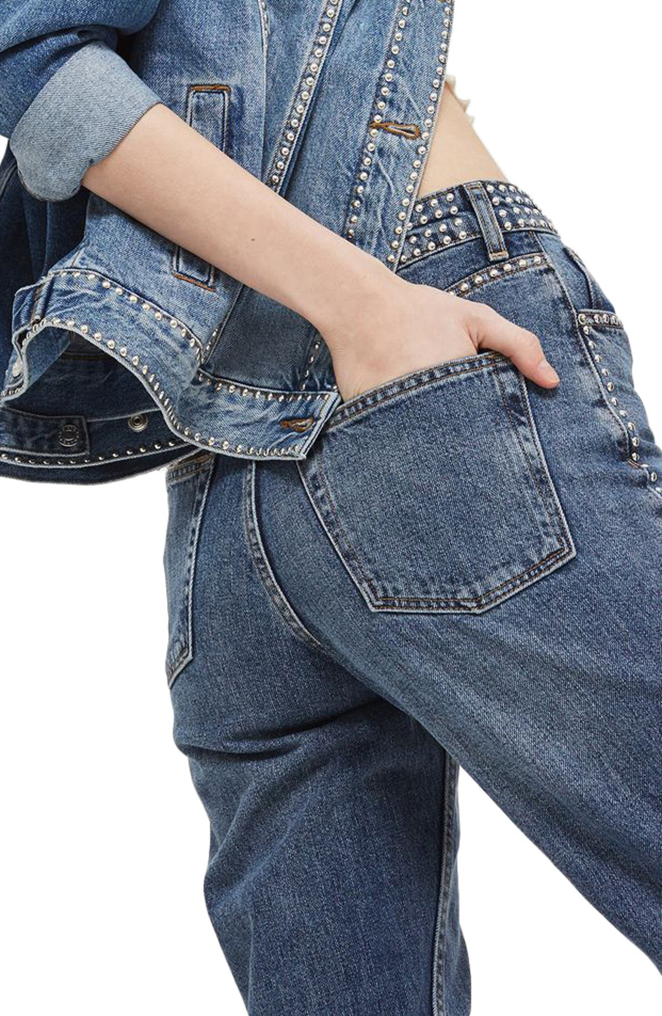 Mid Denim Studded Mom Jeans,                             Alternate thumbnail 2, color,                             Mid Denim