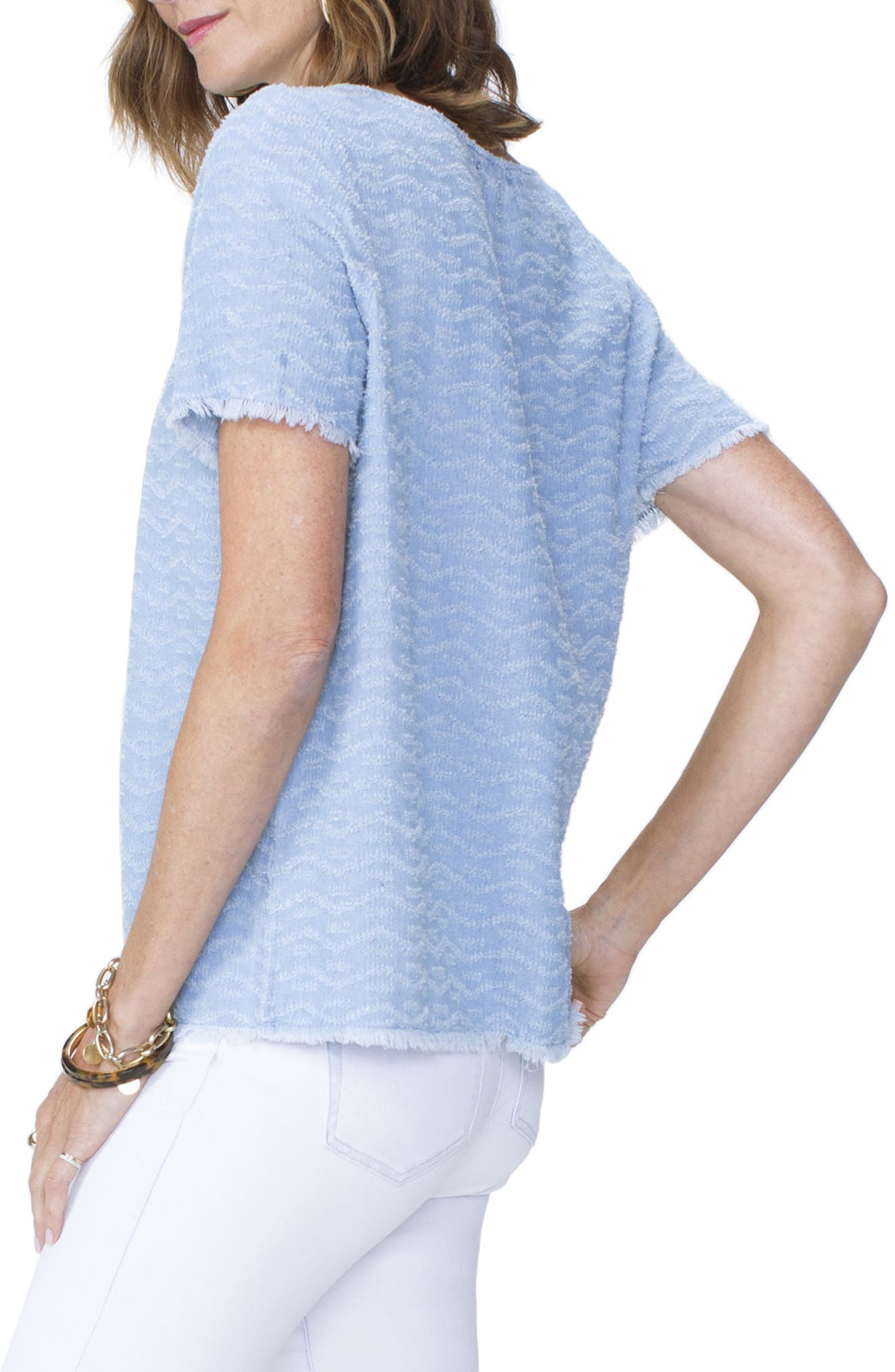 Textured Woven Tee,                             Alternate thumbnail 3, color,                             Tidal Wave Wash