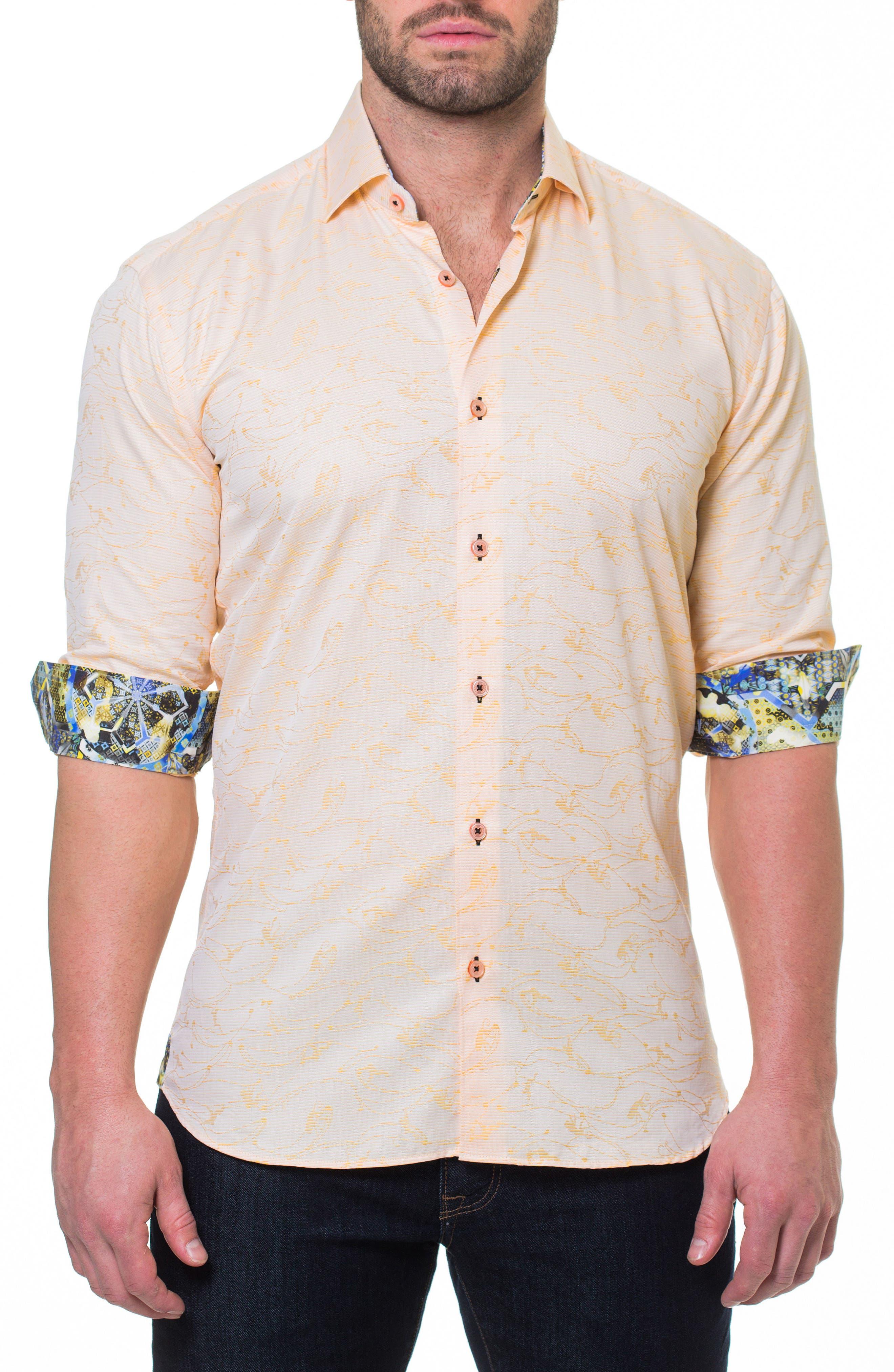 Luxor Monkey Slim Fit Sport Shirt,                             Main thumbnail 1, color,                             Yellow