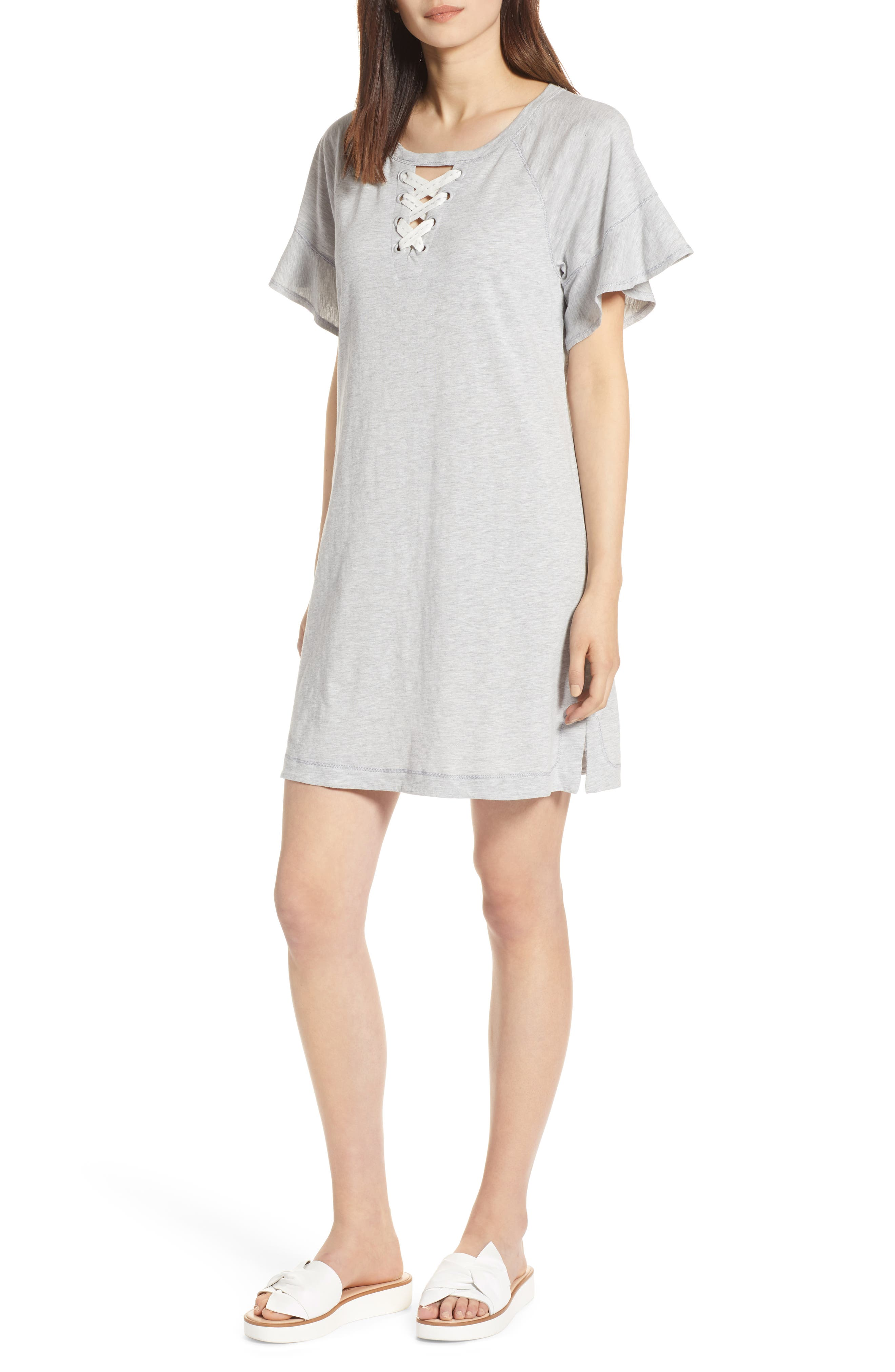 Lace-Up Ruffle Dress,                         Main,                         color, Heather Grey