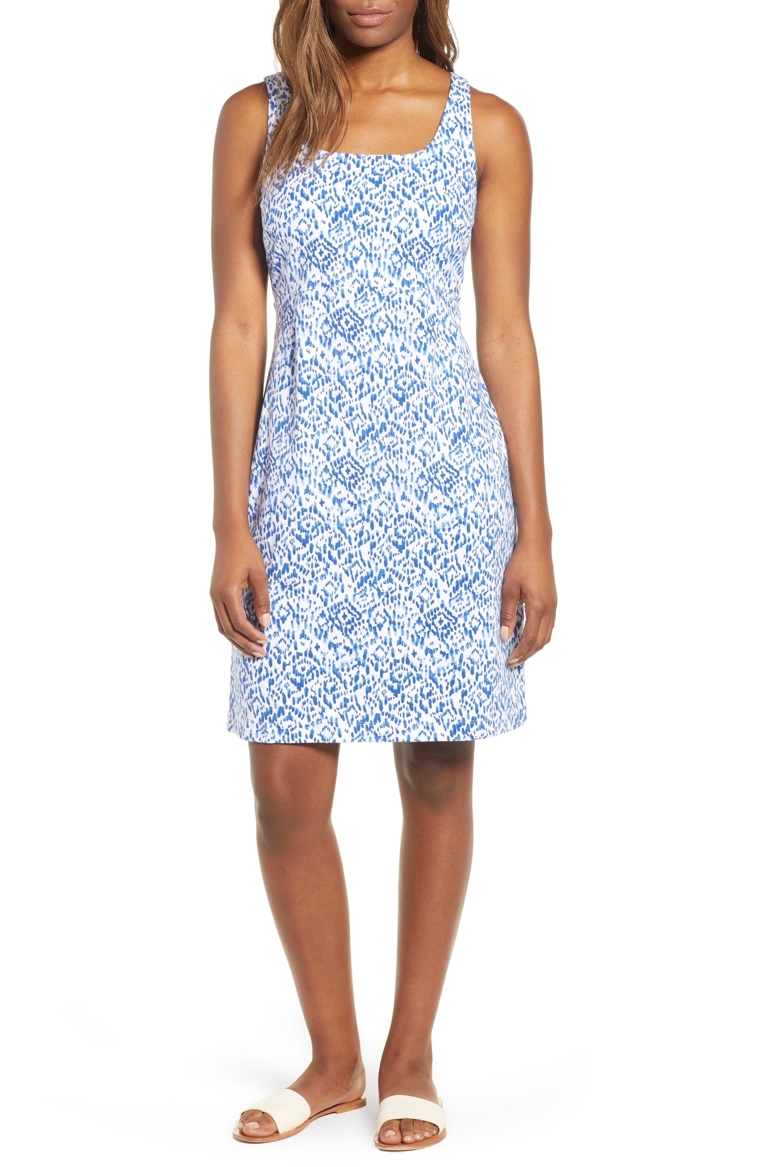 La Liorena Sleeveless Stretch Cotton Tank Dress,                             Main thumbnail 1, color,                             Palace Blue