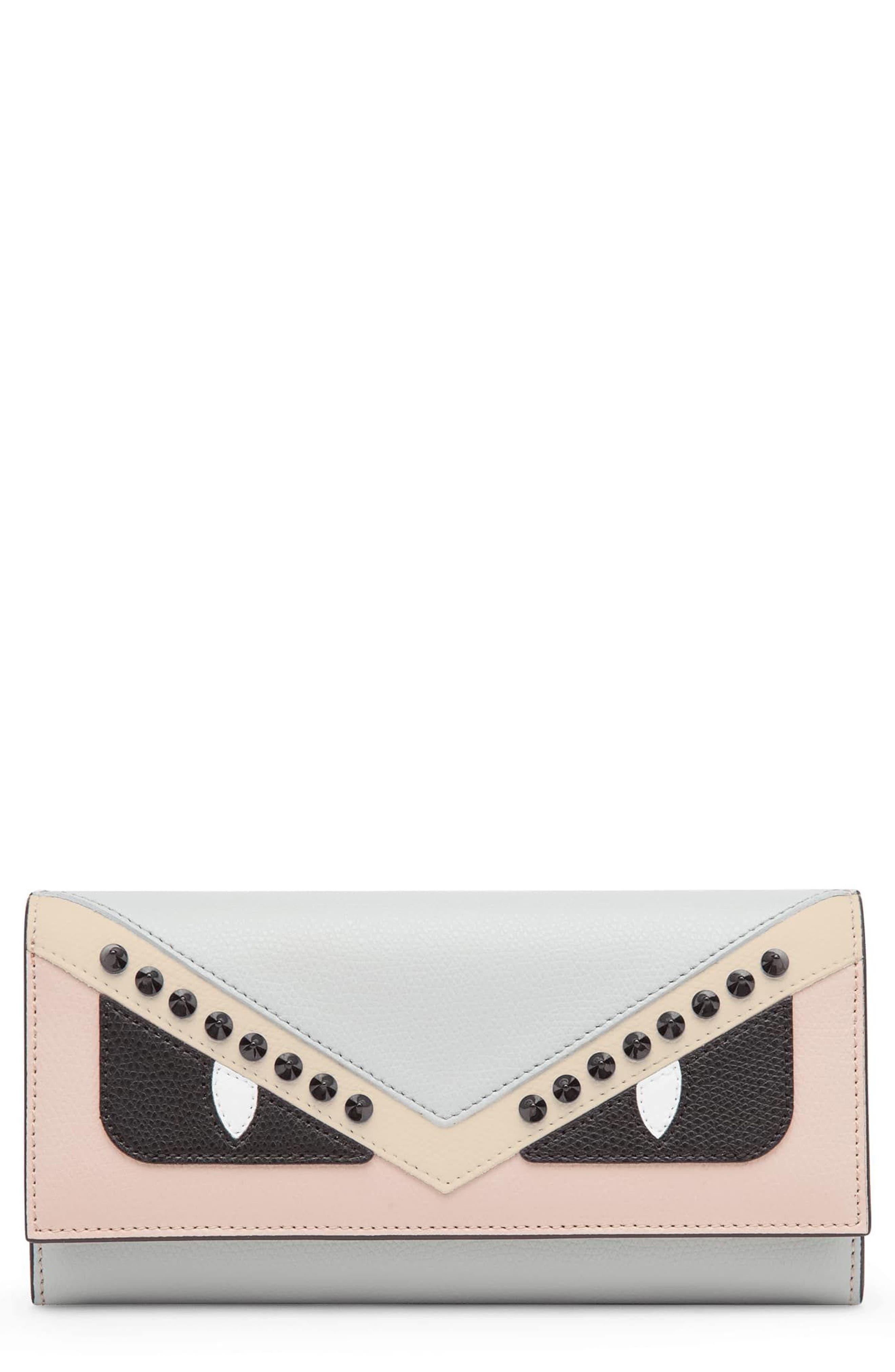 Monster Leather Continental Wallet,                         Main,                         color, Grigio Perla/ Soap Multi